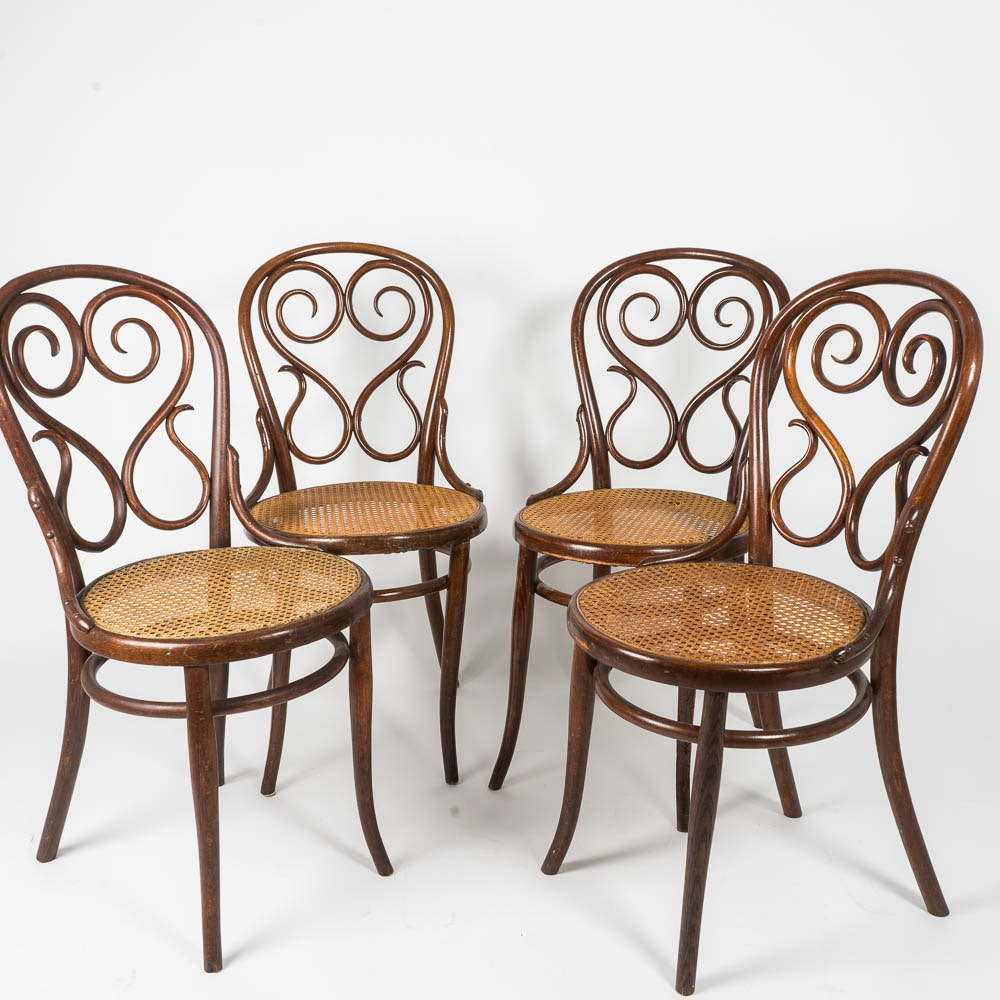 Set of Four Bentwood Chairs in the Style of Thonet