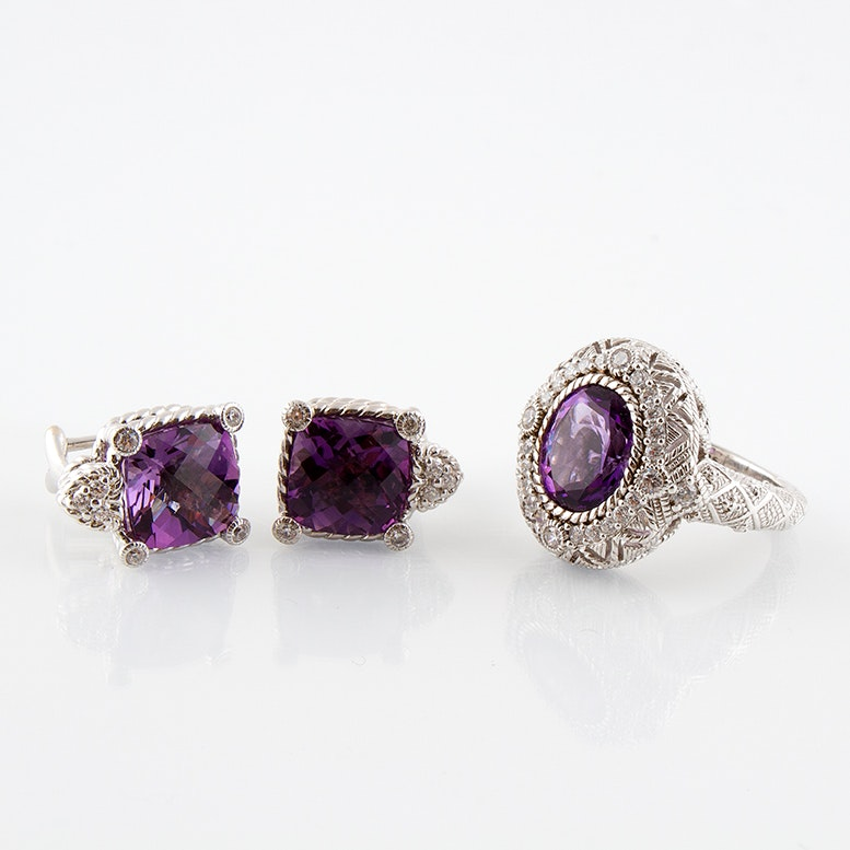 Judith Ripka Sterling Silver and Amethyst Clip Earrings and Ring