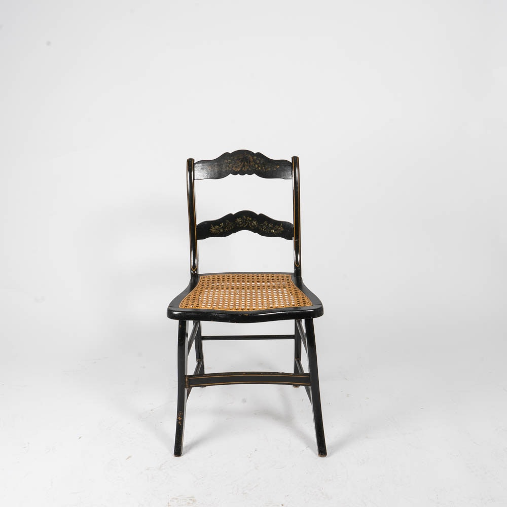 Vintage Hitchcock Style Side Chair with Caned Seat