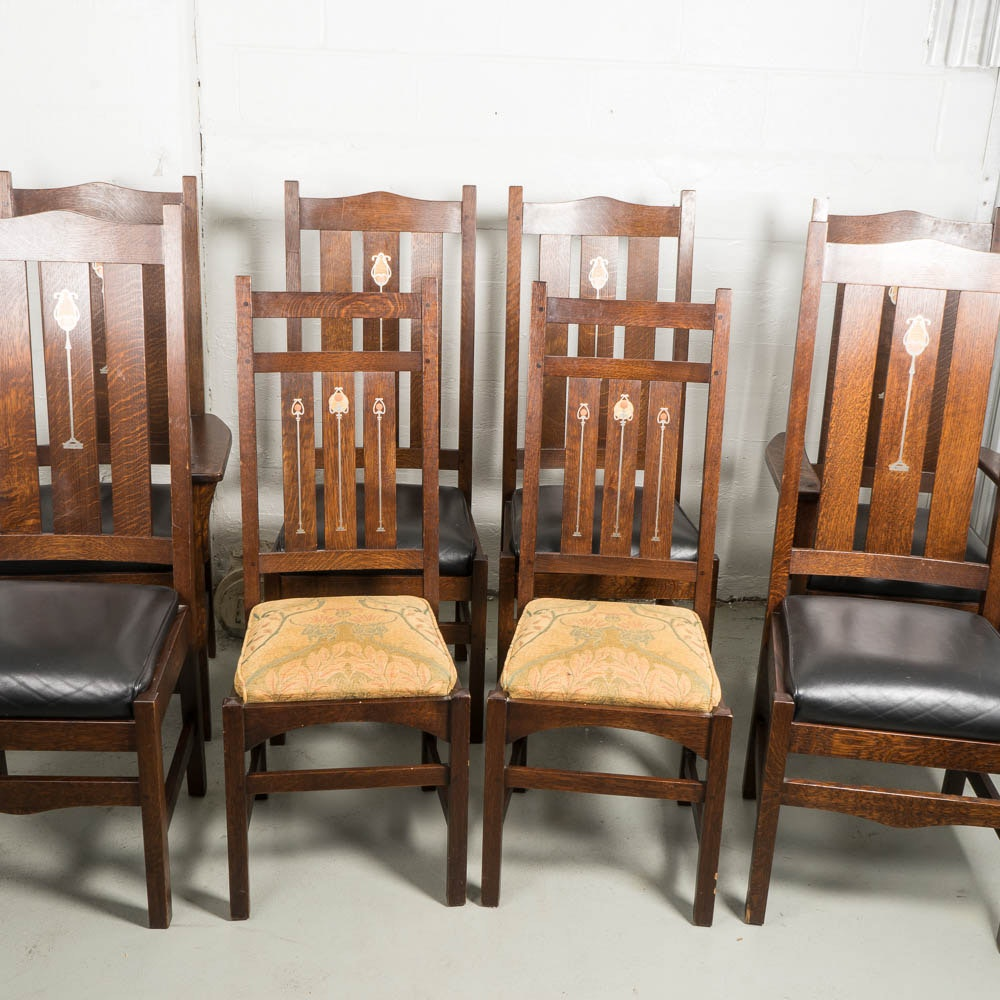 Collection of Stickley Quarter-Sawn Oak Dining Chairs with Inlays