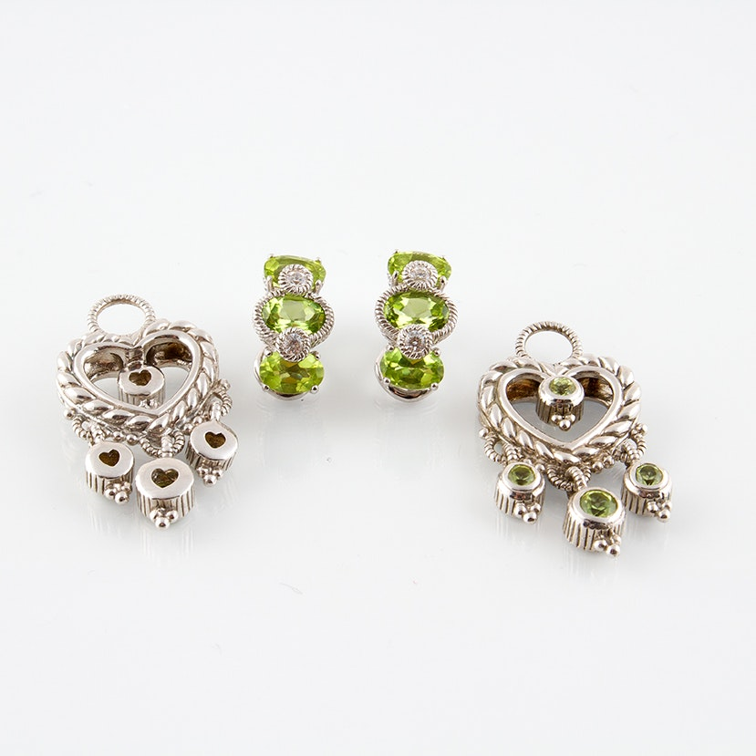 Judith Ripka Sterling Silver Peridot Clip Earrings and Earring Jackets