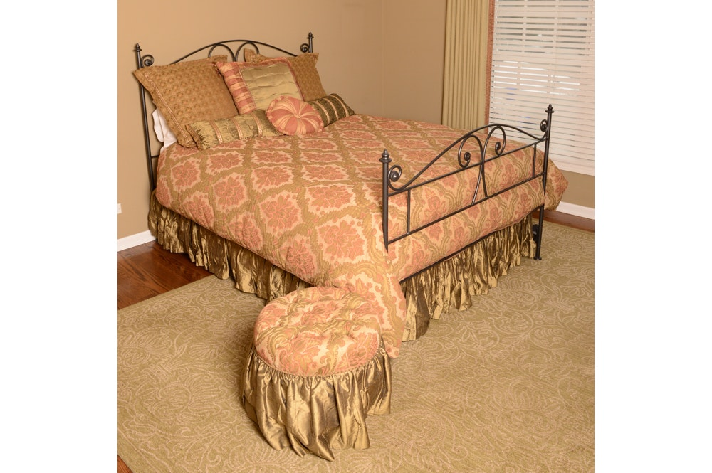 Metal Queen-Size Bed Frame Including Mattress, Custom Bedding and Ottoman
