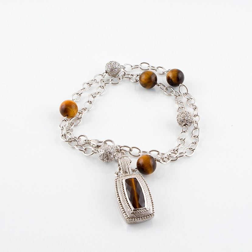 Judith Ripka Sterling Silver Necklace with Tiger's Eye Pendant