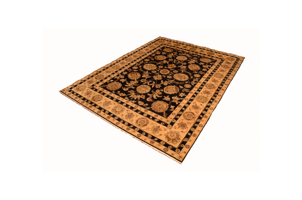 Hand-Knotted Indian Agra Style Wool Room Size Rug