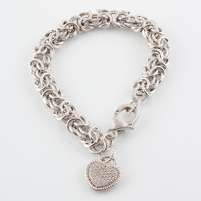 Judith Ripka Sterling Silver Bracelet with Synthetic Cubic Zirconia Heart Charm