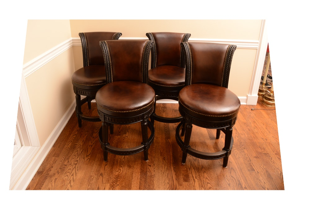 Four Faux Leather Barstools by Furniture Origins