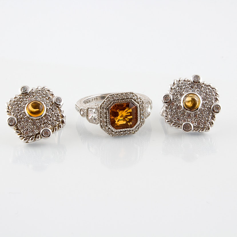 Judith Ripka Sterling Earrings and Ring Featuring Cubic Zirconia and Citrine