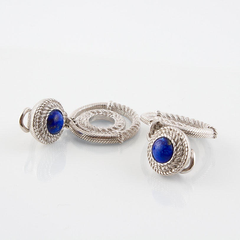 Judith Ripka Sterling Silver and Lapis Lazuli Dangle Clip Earrings