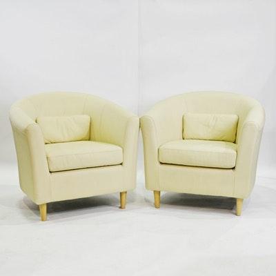 Ikea Tullsta Leather Barrel Chairs ...
