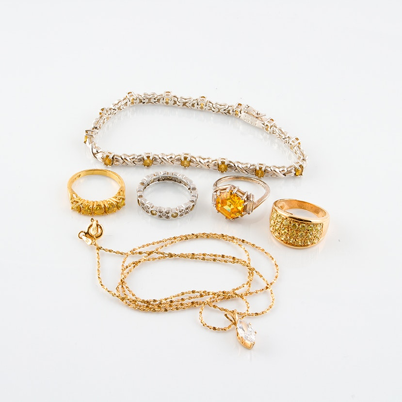 Sterling Silver, Cubic Zirconia and Citrine Jewelry