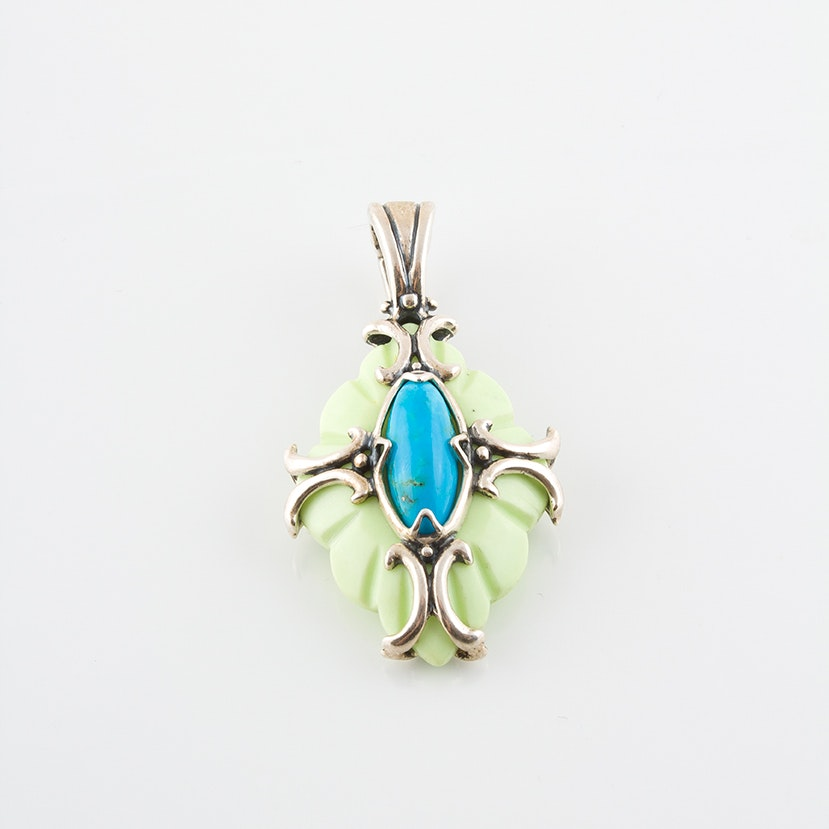 Carolyn Pollack for Relios Sterling Silver Turquoise and Magnesite Pendant