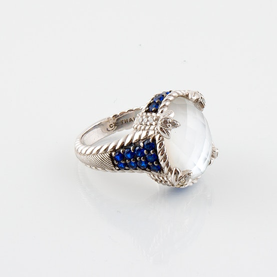 Judith Ripka Sterling Silver Ring with Mother of Pearl Doublet