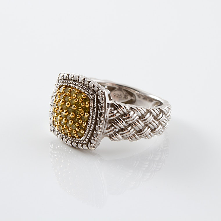 Sterling Silver Yellow Diamond Ring
