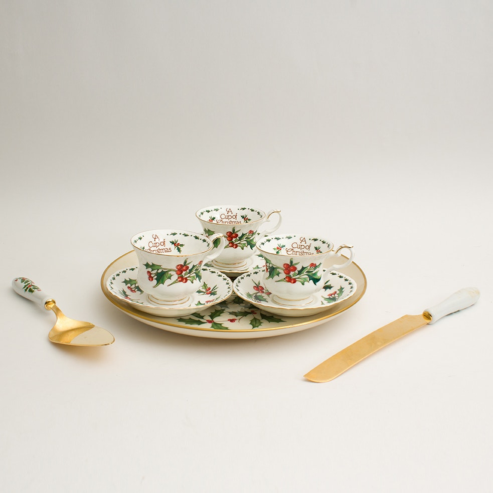 Lenox Holiday Cake Plate, Teacups and Serving Pieces