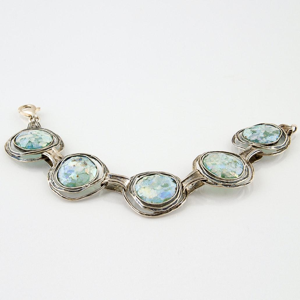 Sterling Silver Roman Glass Modernist Bracelet