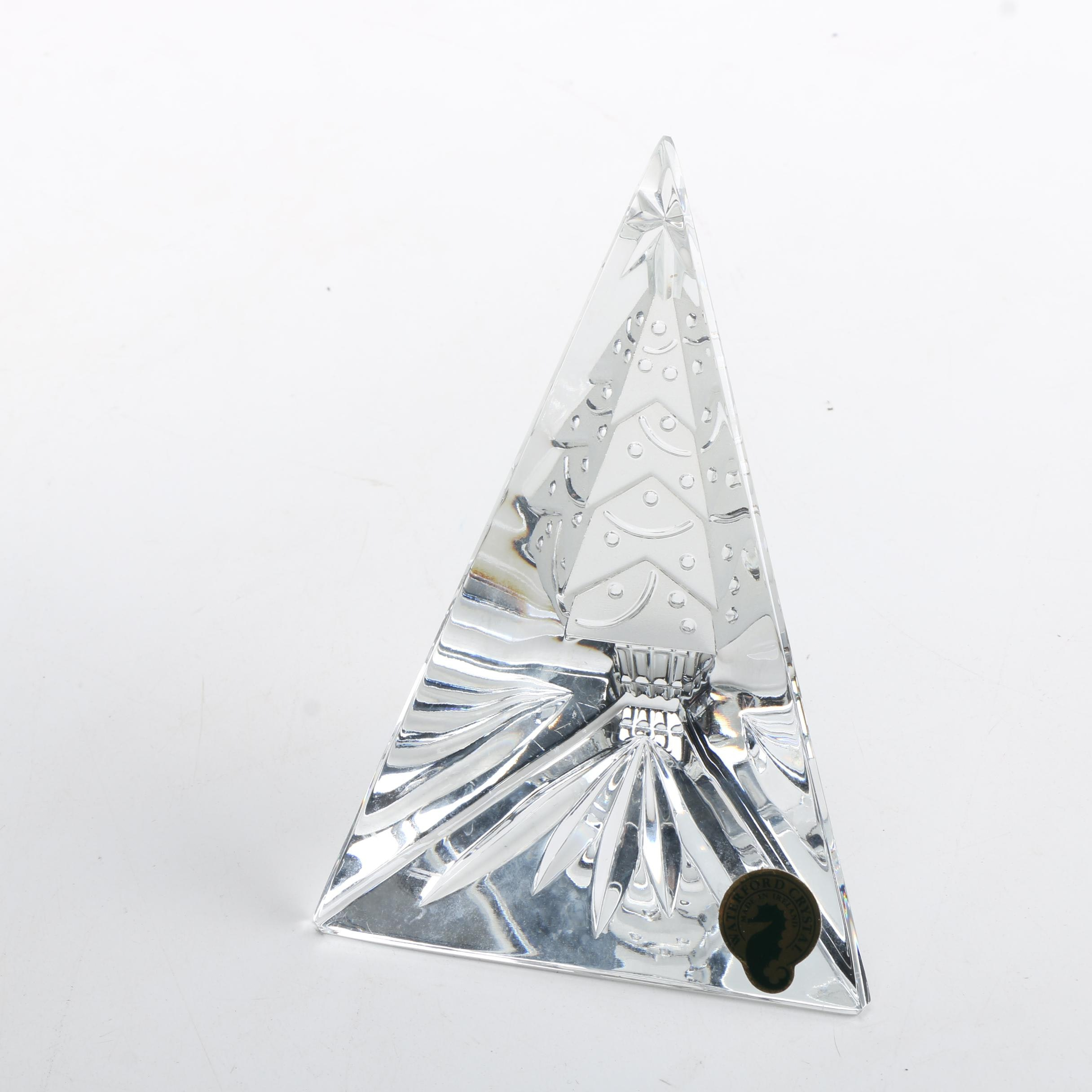 "Waterford Crystal ""Happy Holidays"" Christmas Tree Prism"