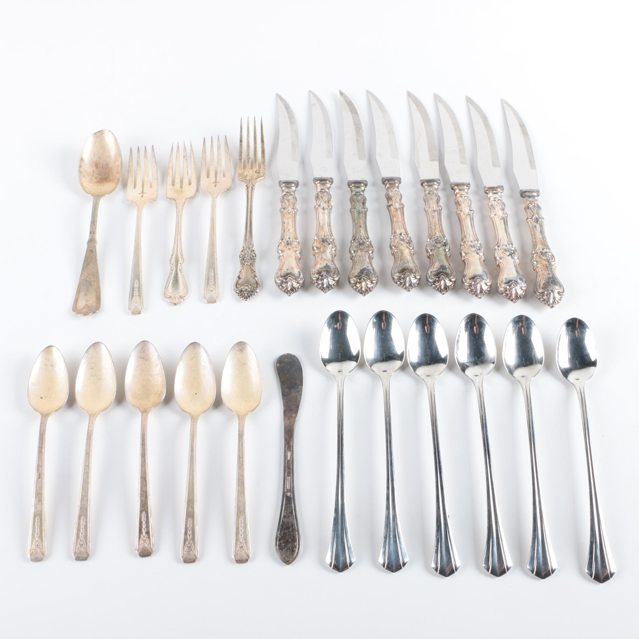 "Oneida ""Afterglow"" Sterling Fork with Assorted Silver Plate Flatware"