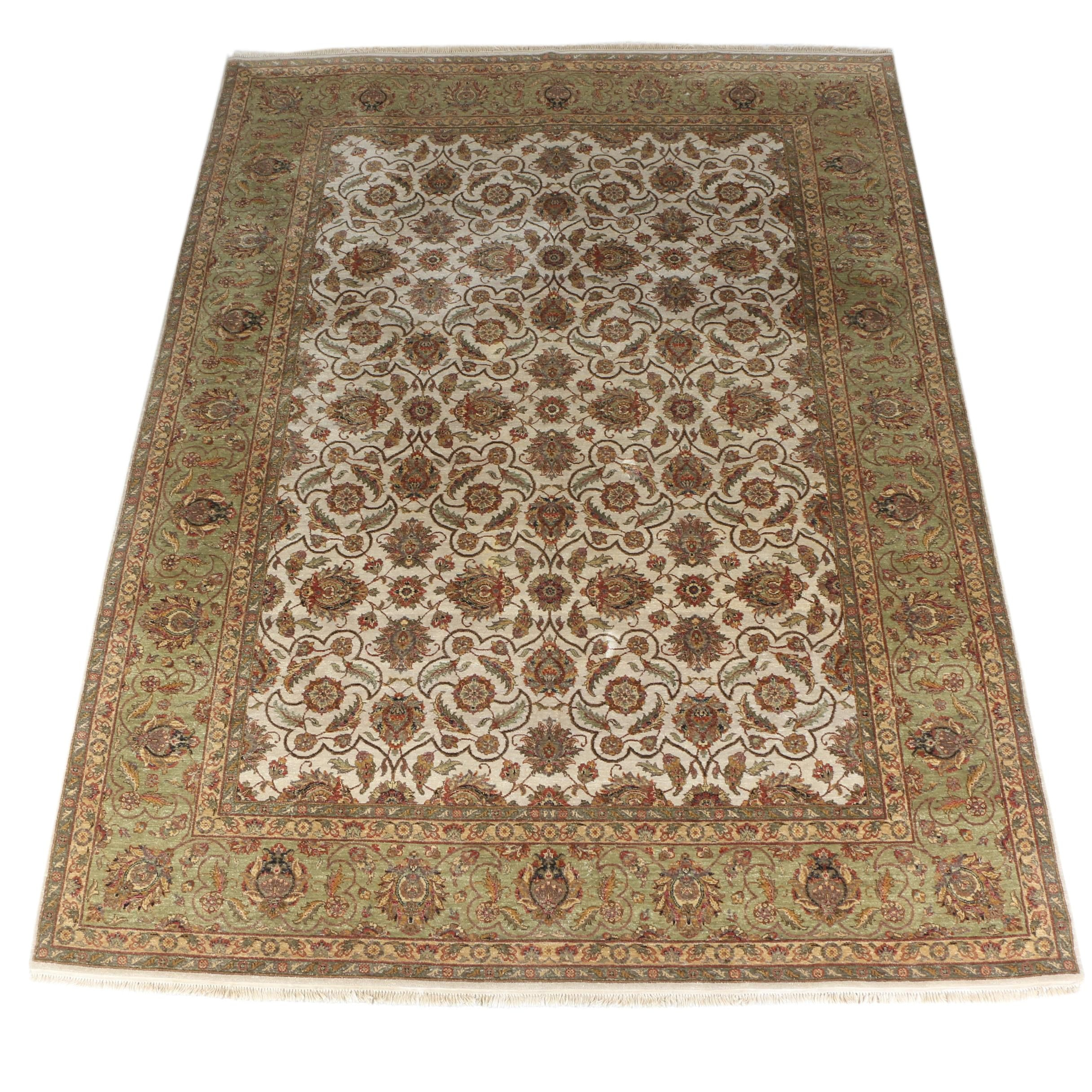 Hand-Knotted Indo-Persian Peshawar Wool Room Size Rug
