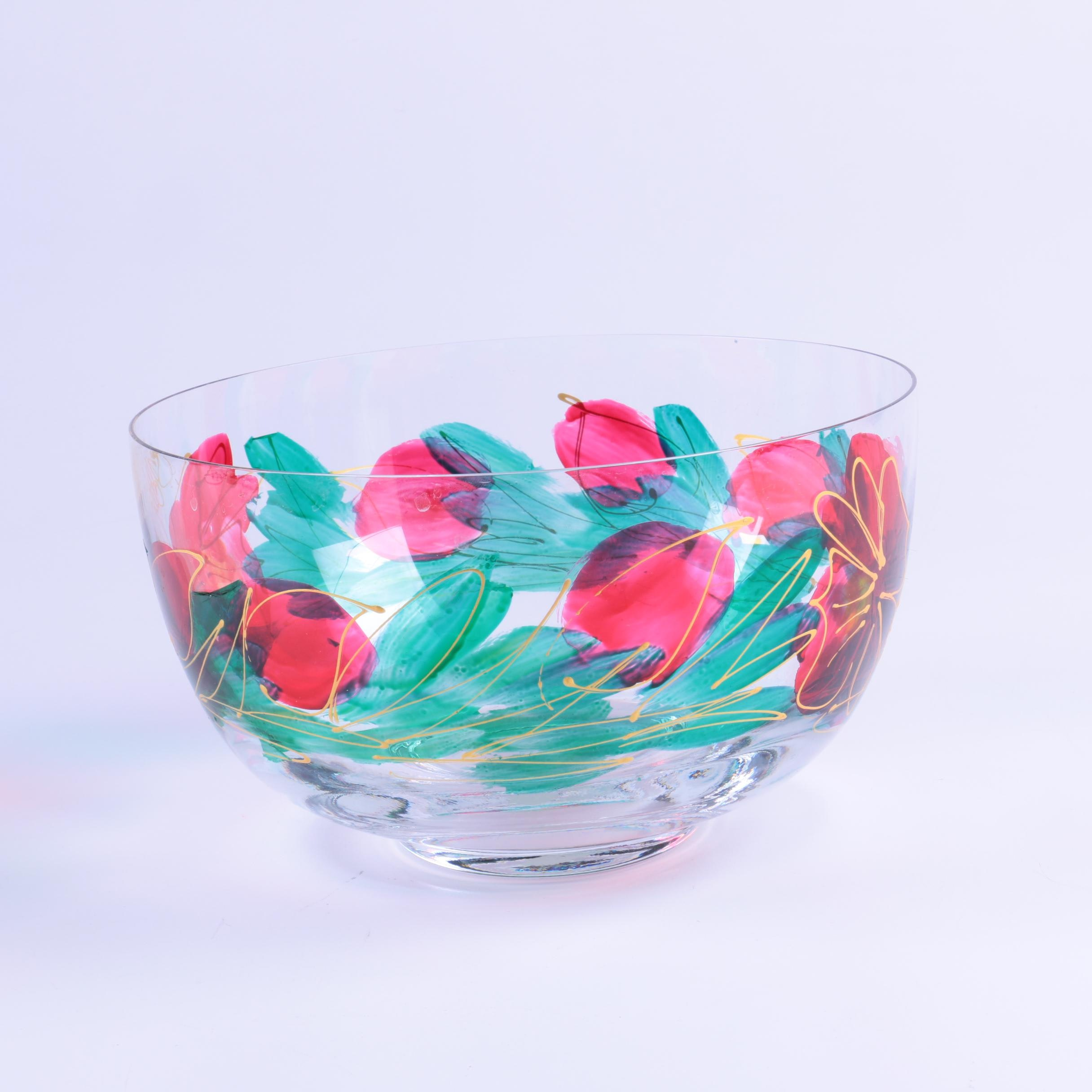New Zealand Hand-Painted Glass Bowl