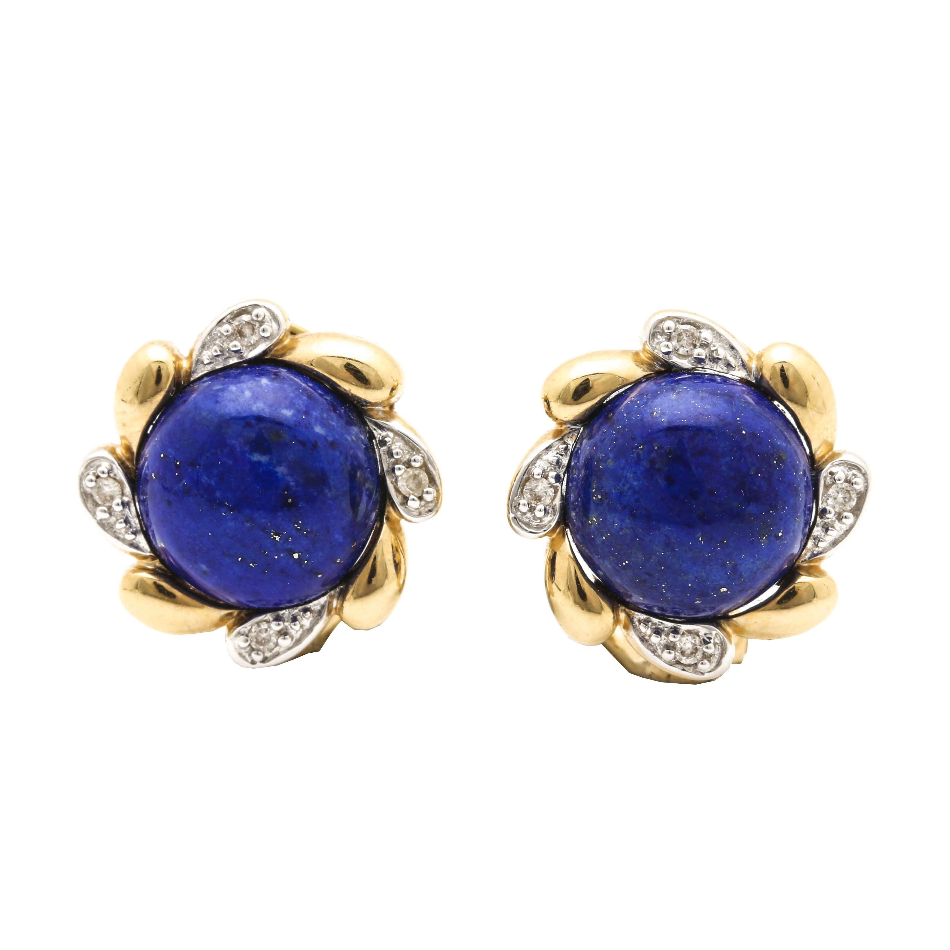 Le Vian 14K Yellow Gold Lapis Lazuli and Diamond Earrings