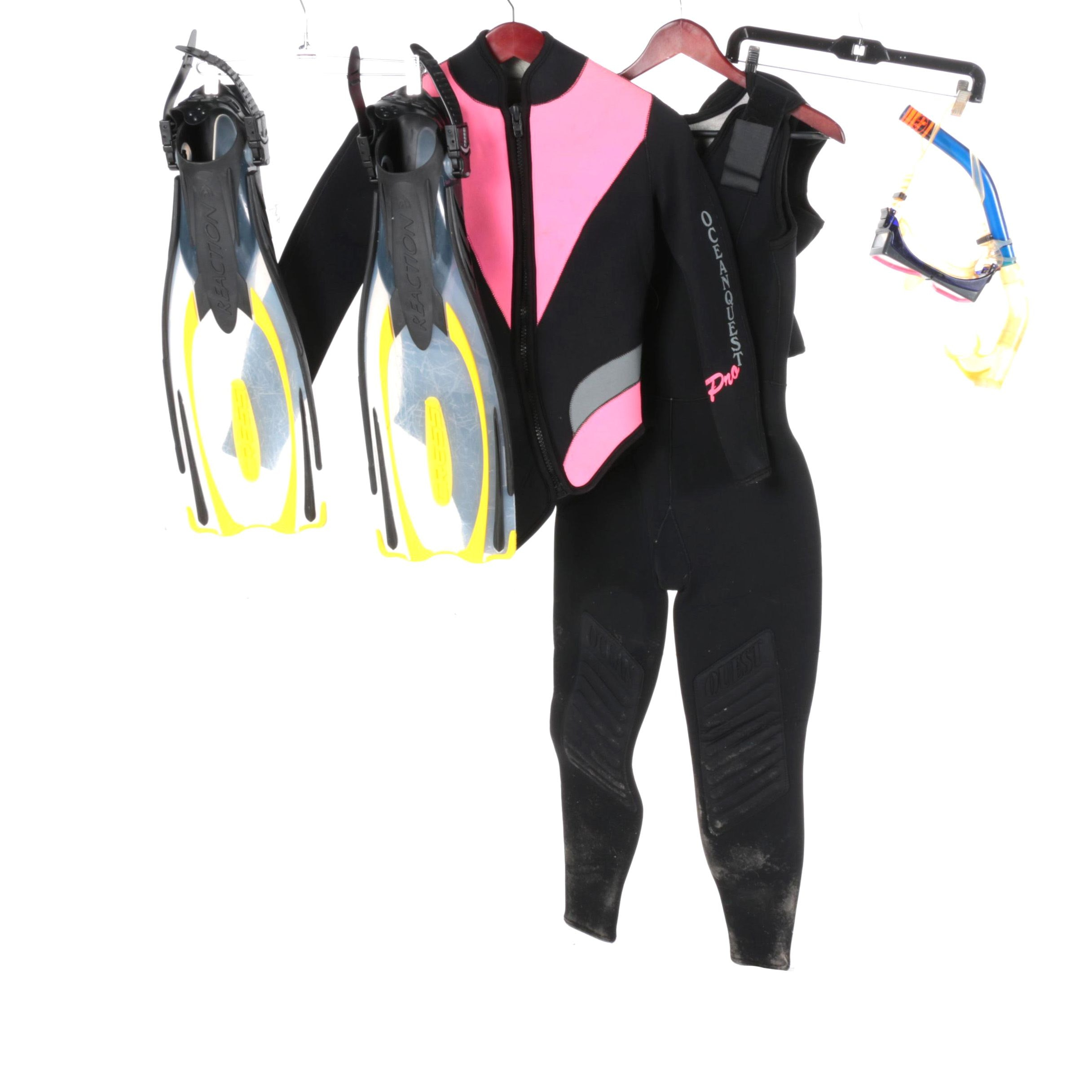 Wet Suit, Fins and Snorkel