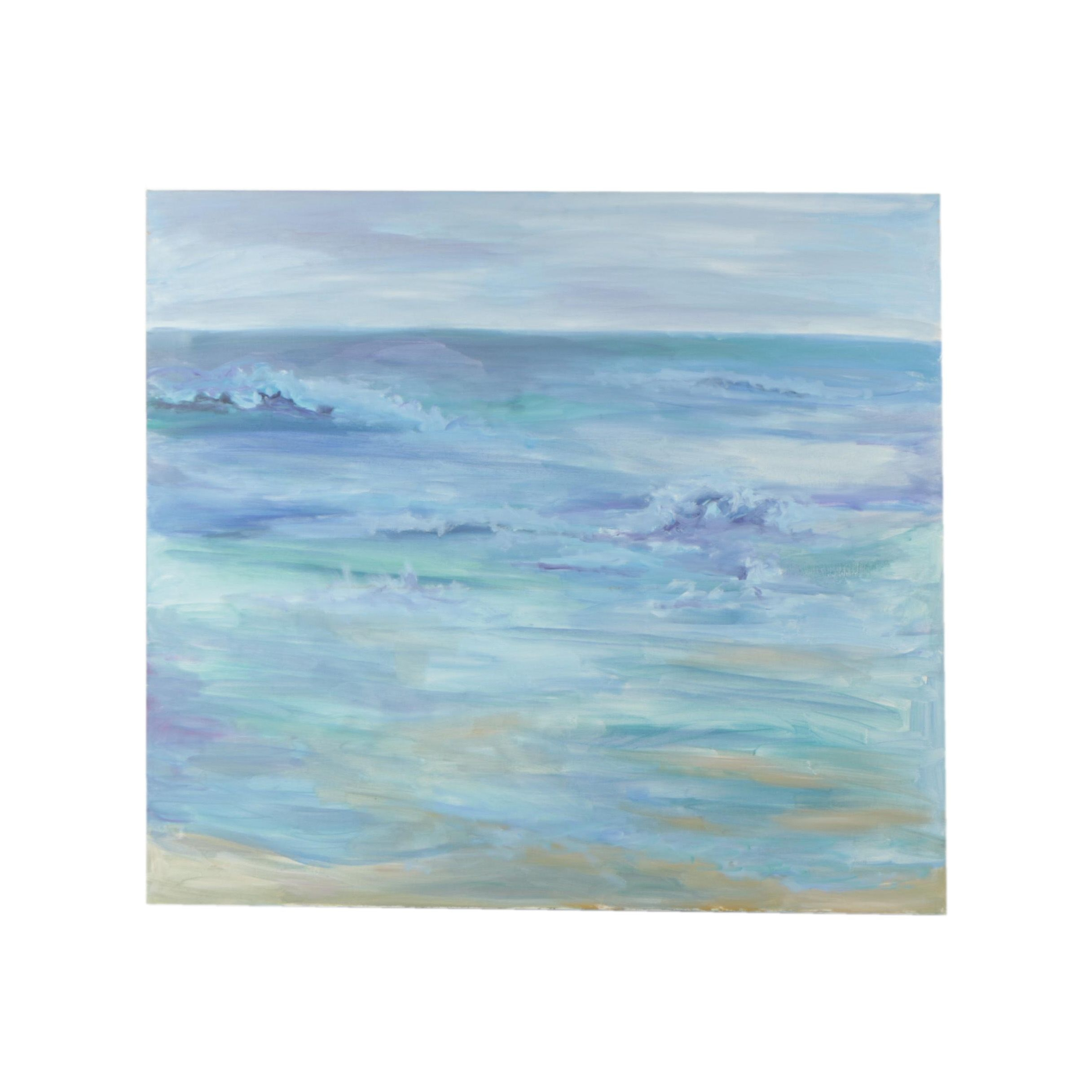 "Mary Bournstein Oil Painting of the Sea ""Alone on the Beach"""