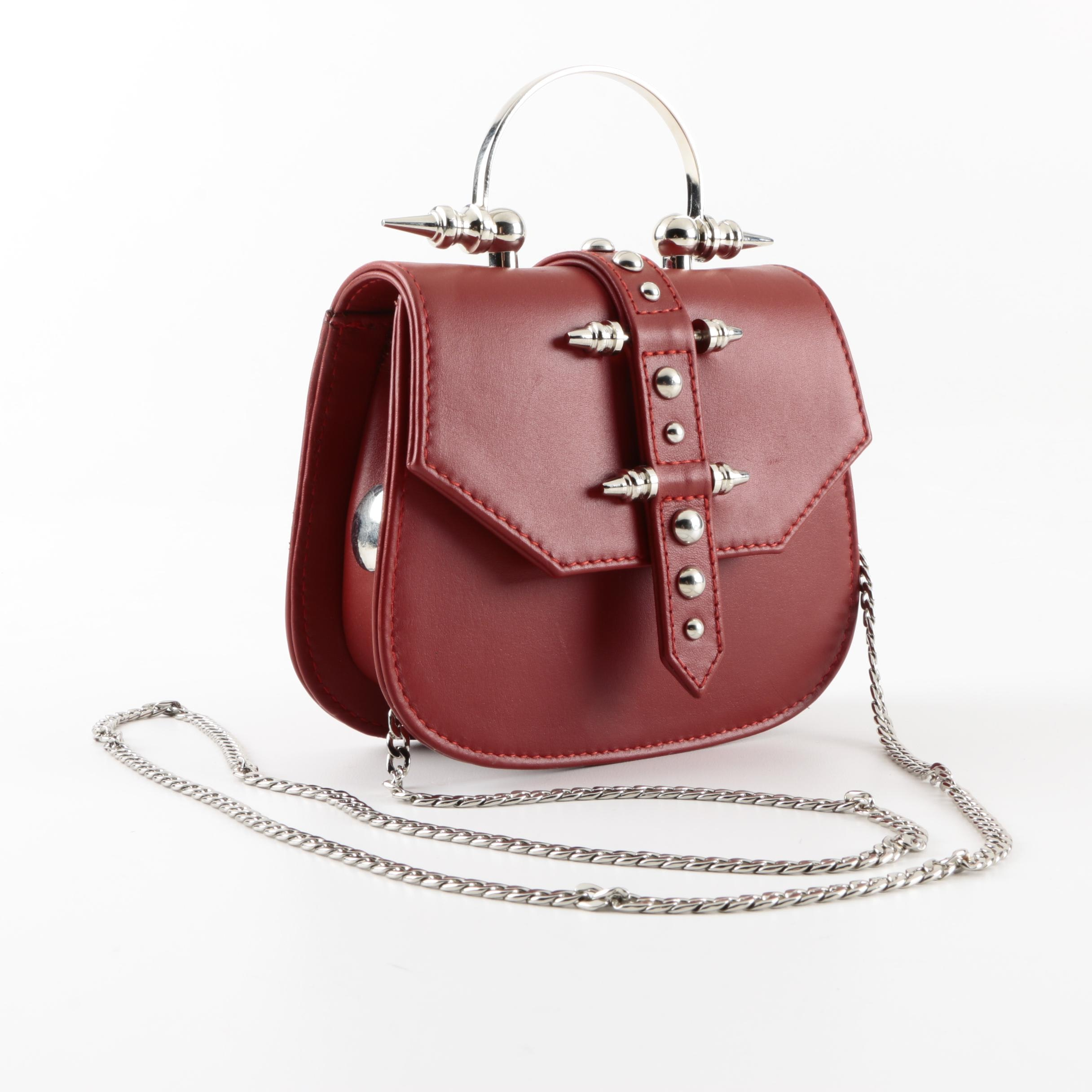 OKHTEIN Mini Studded Red Leather Crossbody Handbag