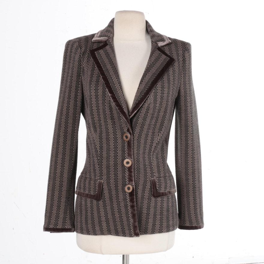 287039ba5db4 Women's Armani Collezioni Brown Knit Suit Jacket : EBTH