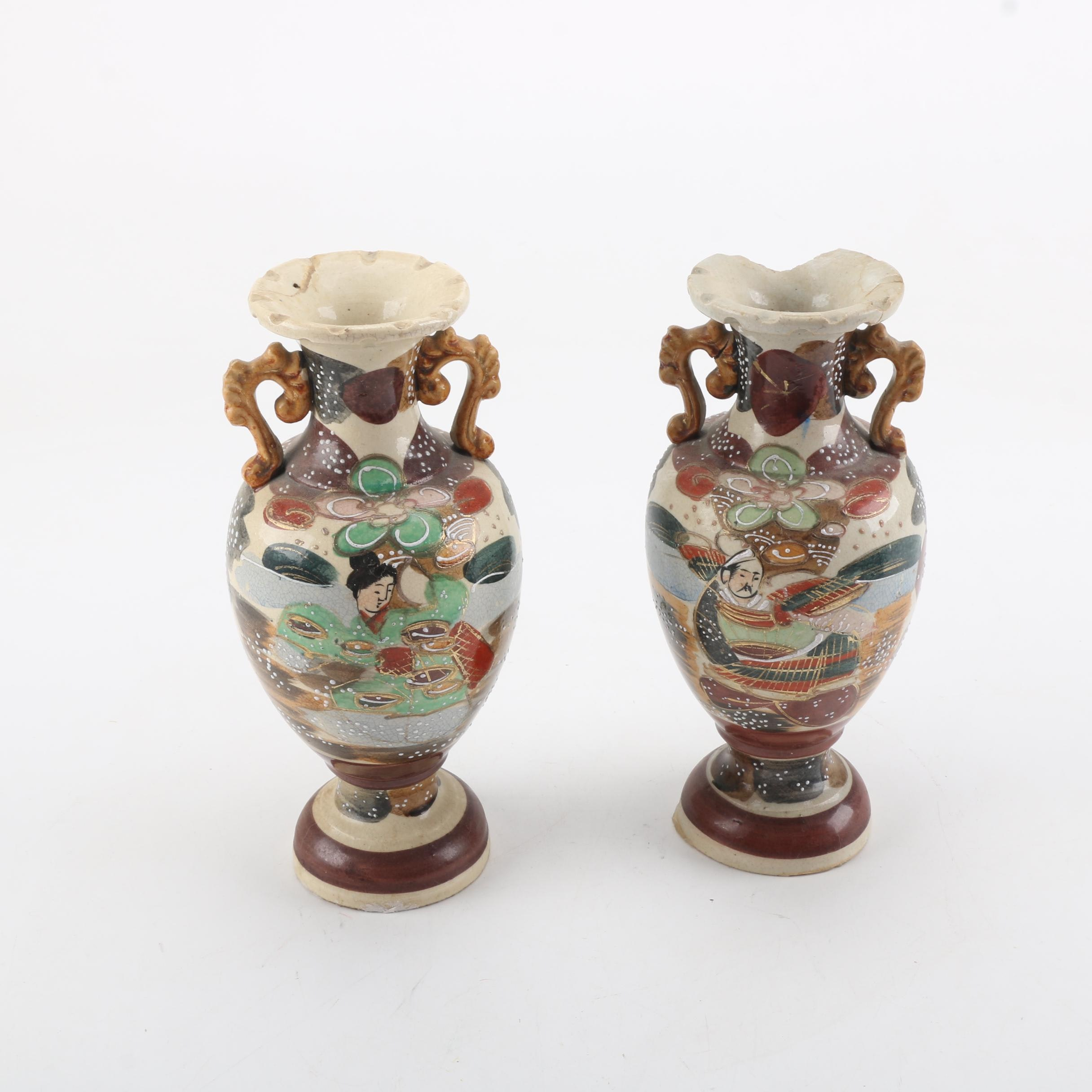 Asian Inspired Ceramic Vases with Hand-Painted Accents
