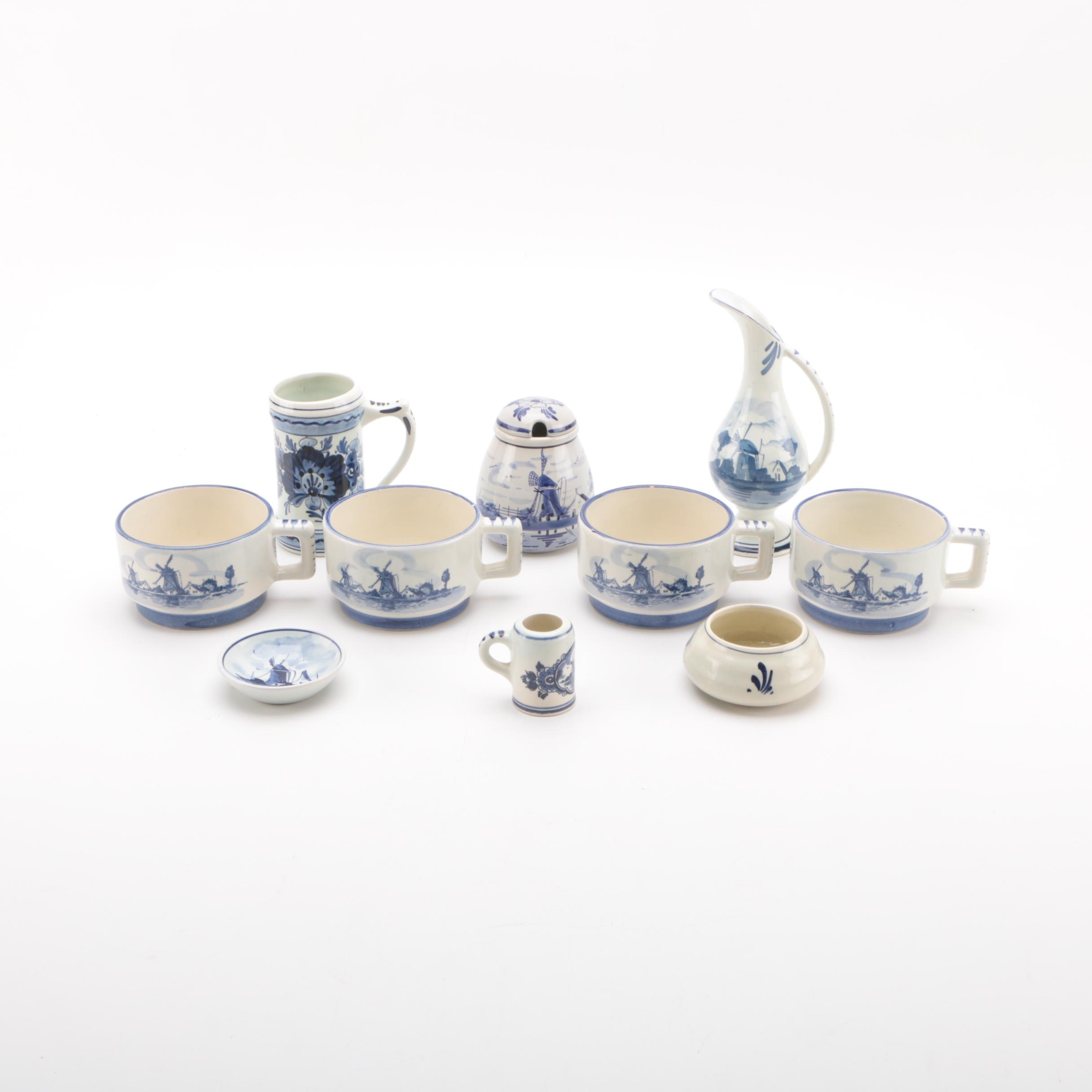 Delft Pottery Pieces and Tableware