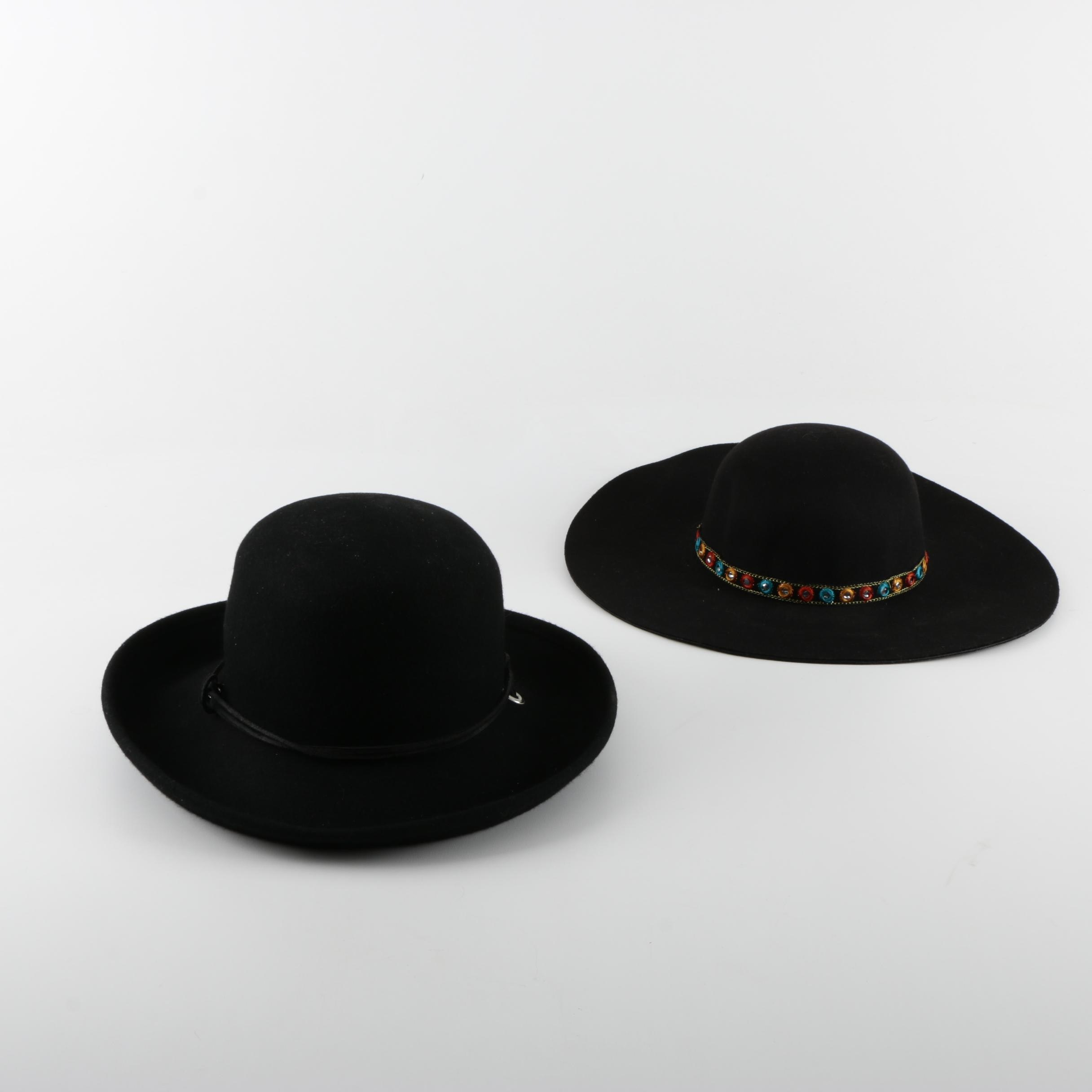 Women's Wide-Brimmed Black Felted Hats