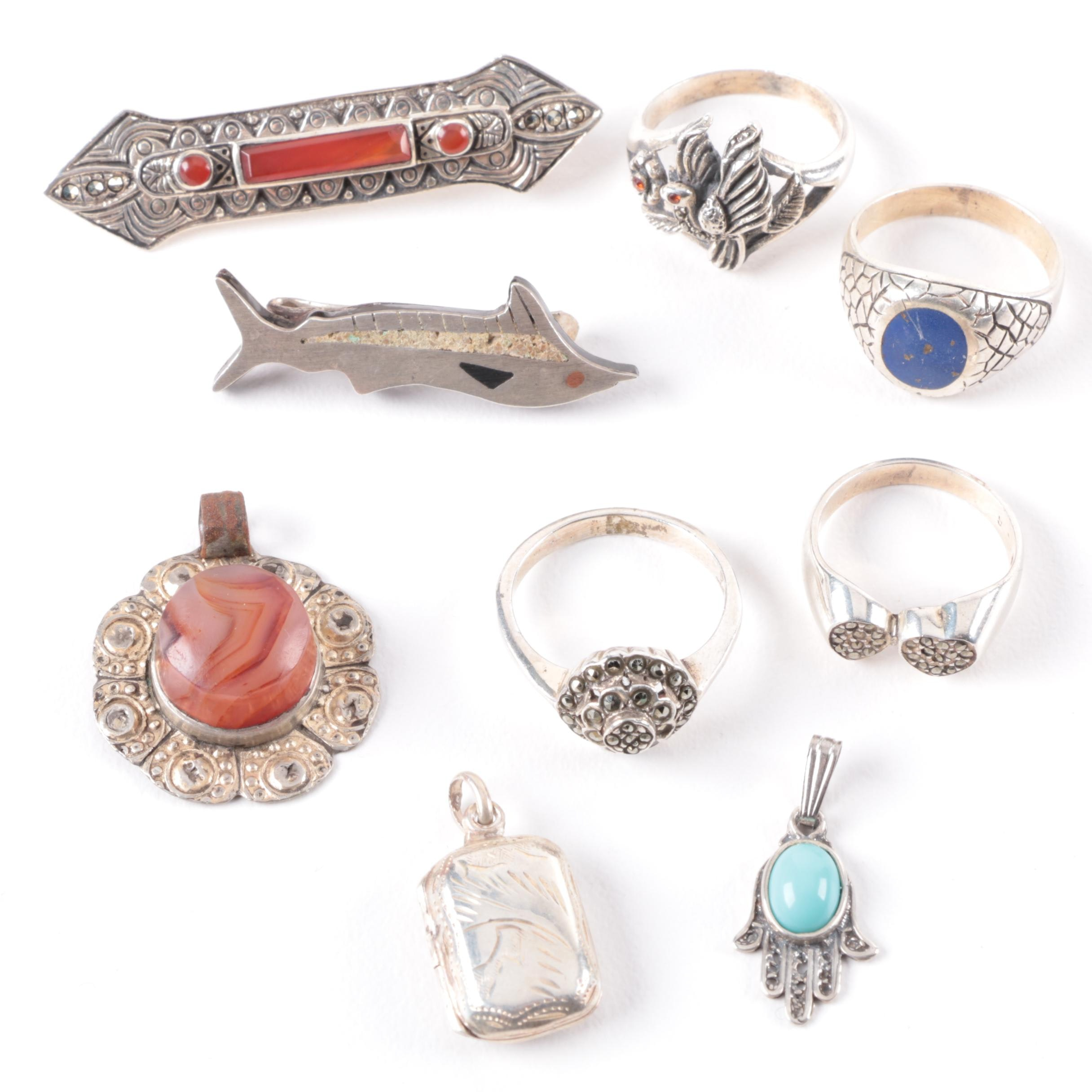 Sterling and 800 Silver Jewelry Selection