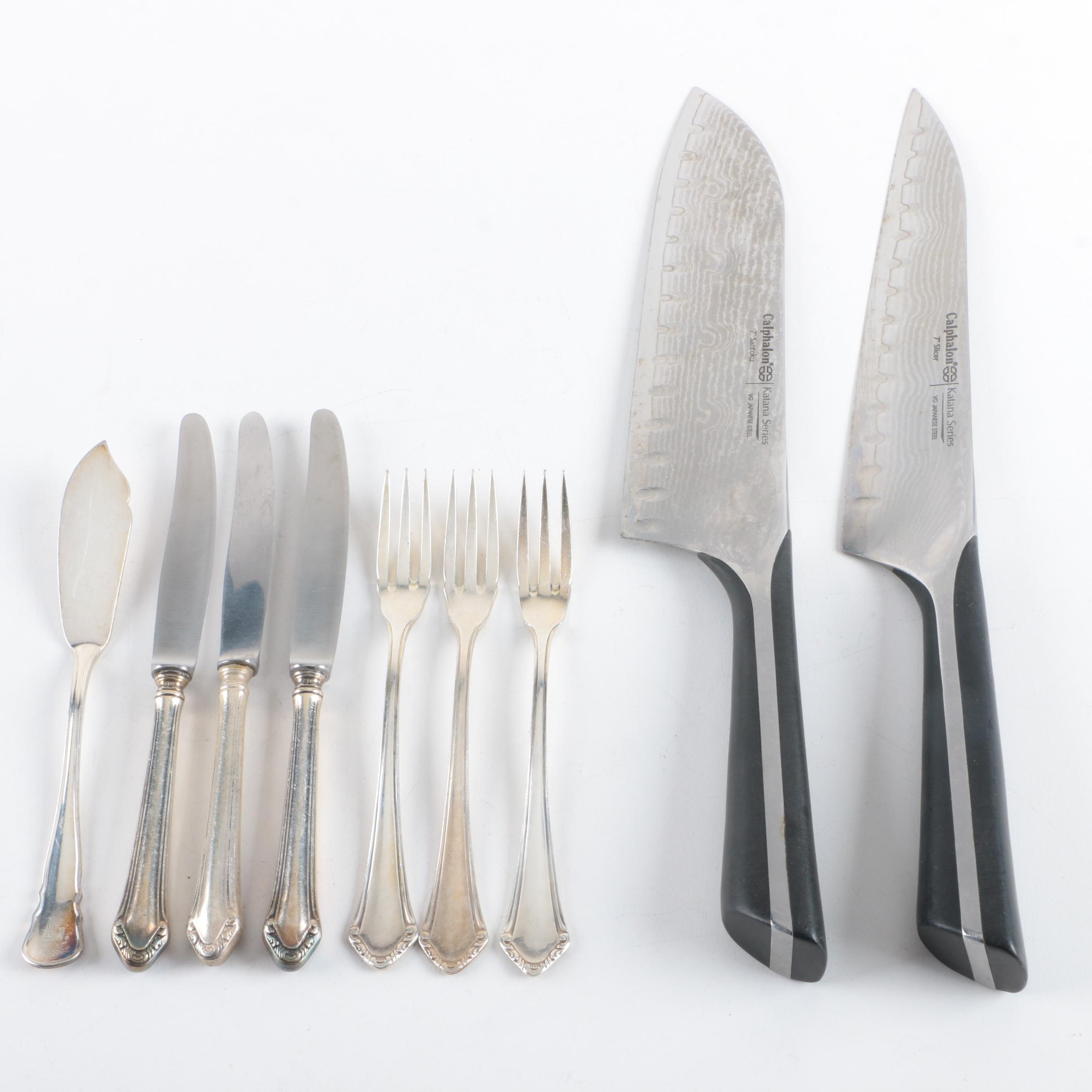 Calphalon Stainless Steel Cutlery with German Silver Plate Flatware