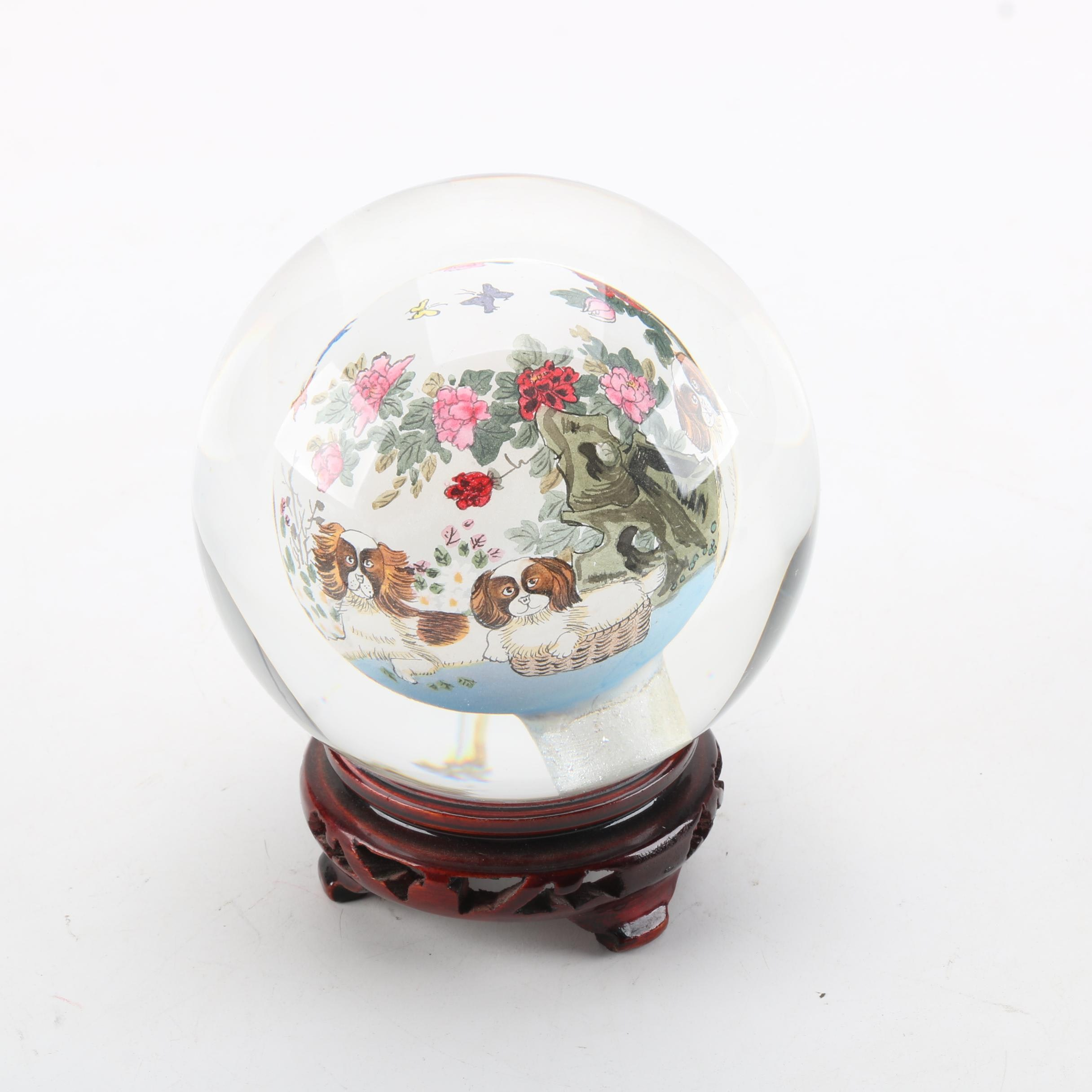 Reverse Hand-Painted Glass Paperweight with Wooden Stand