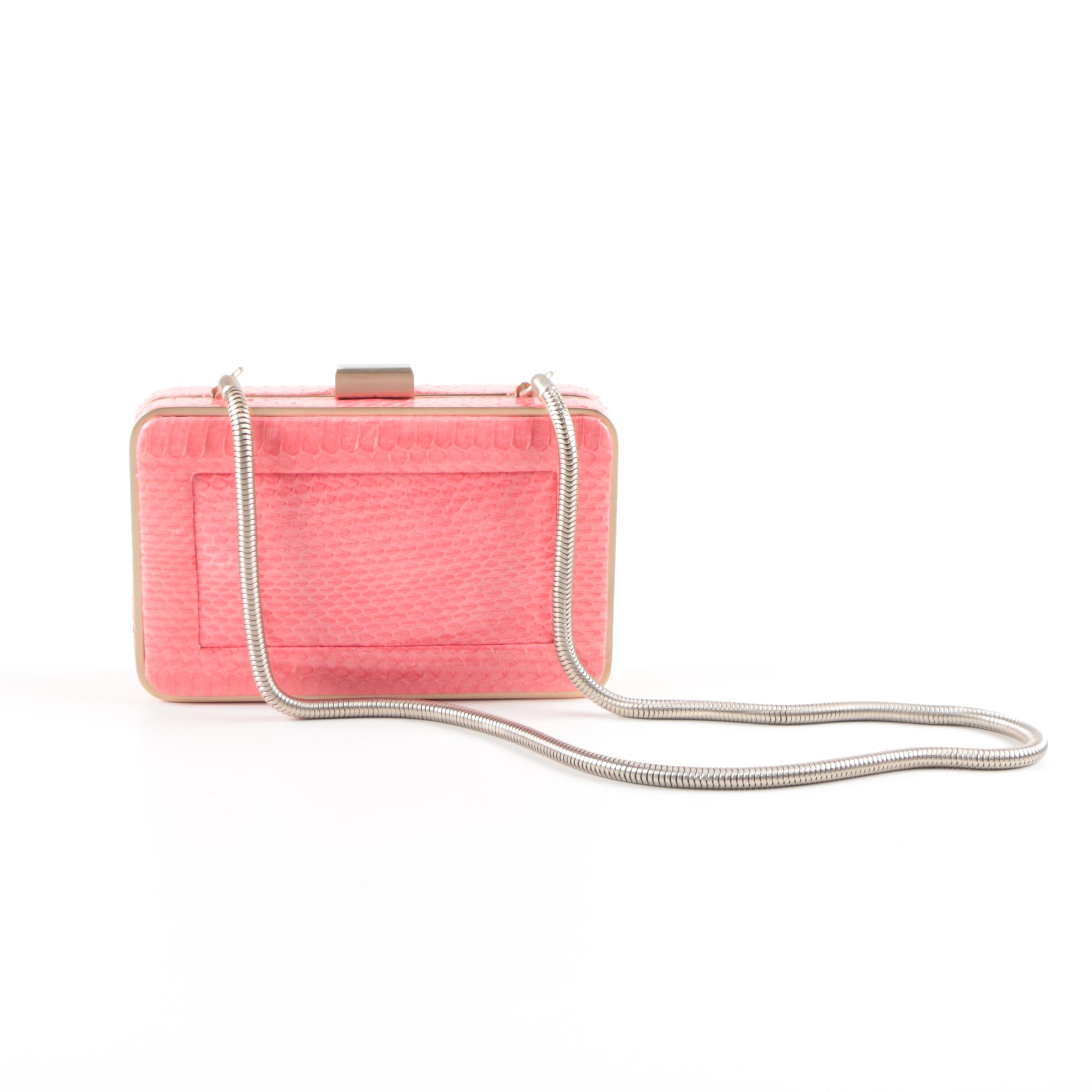 Reiss Dyed Pink Snakeskin Clutch