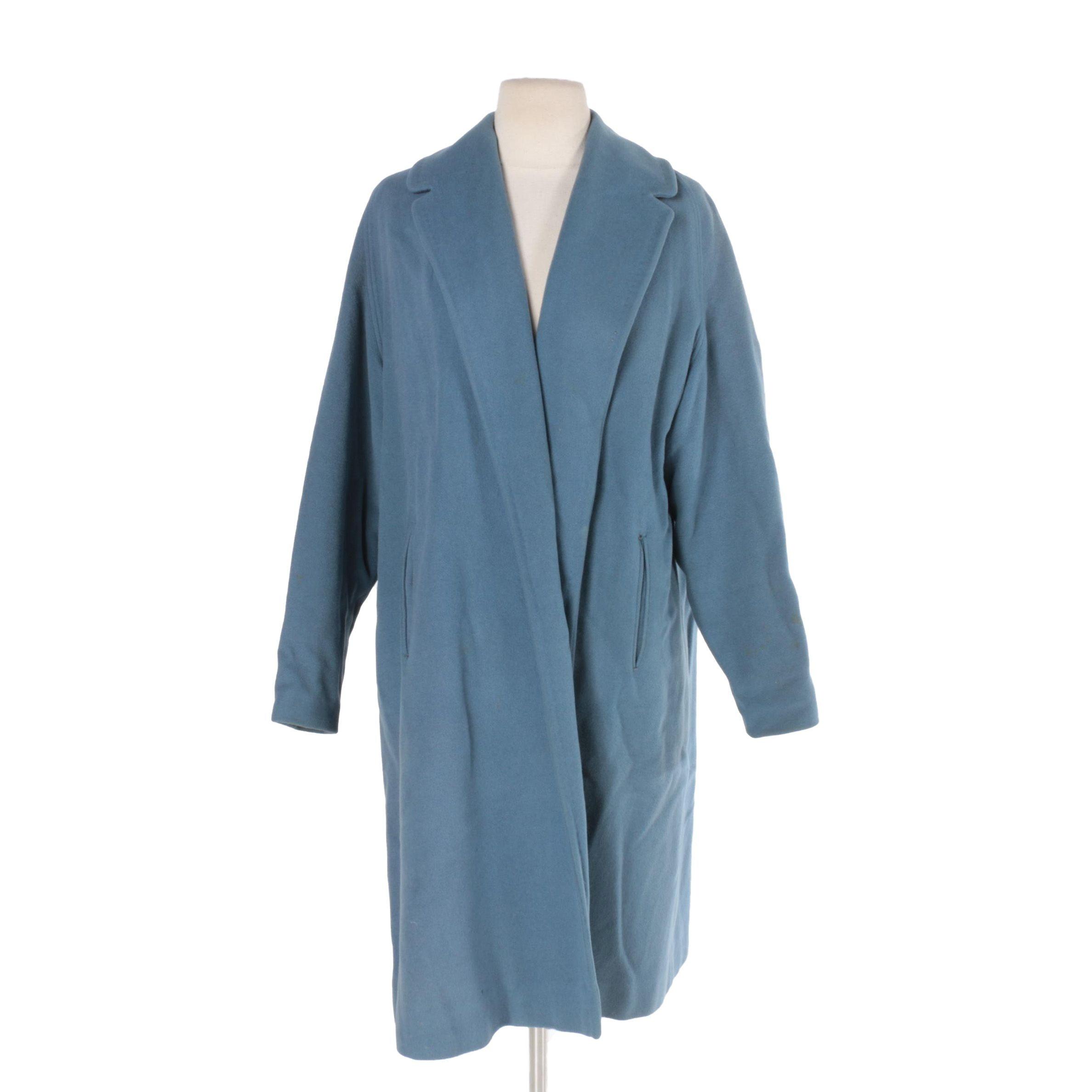 Women's Vintage Blue Cashmere Overcoat