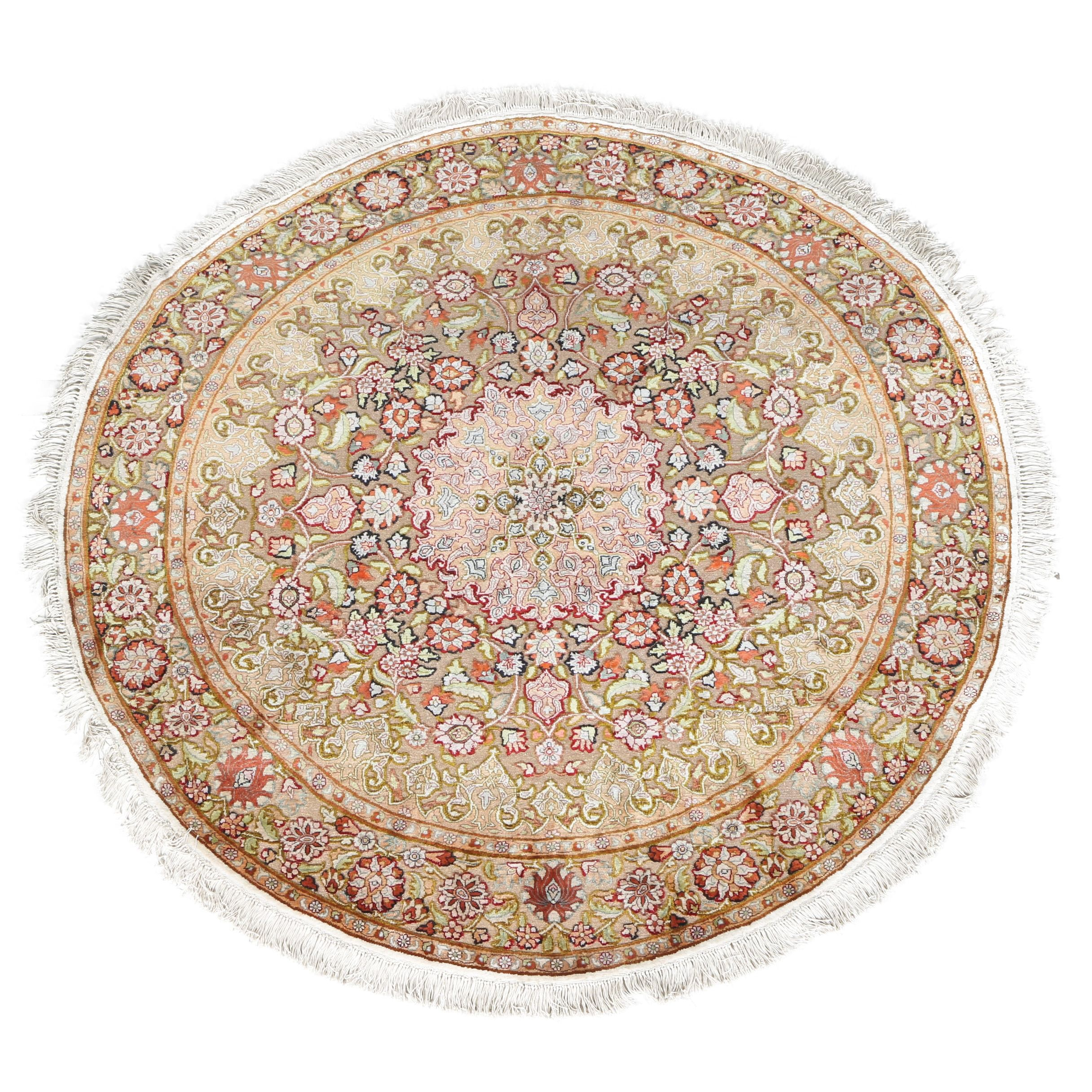 Power Loomed Art Silk Indo-Turkish Hereke-Style Round Rug