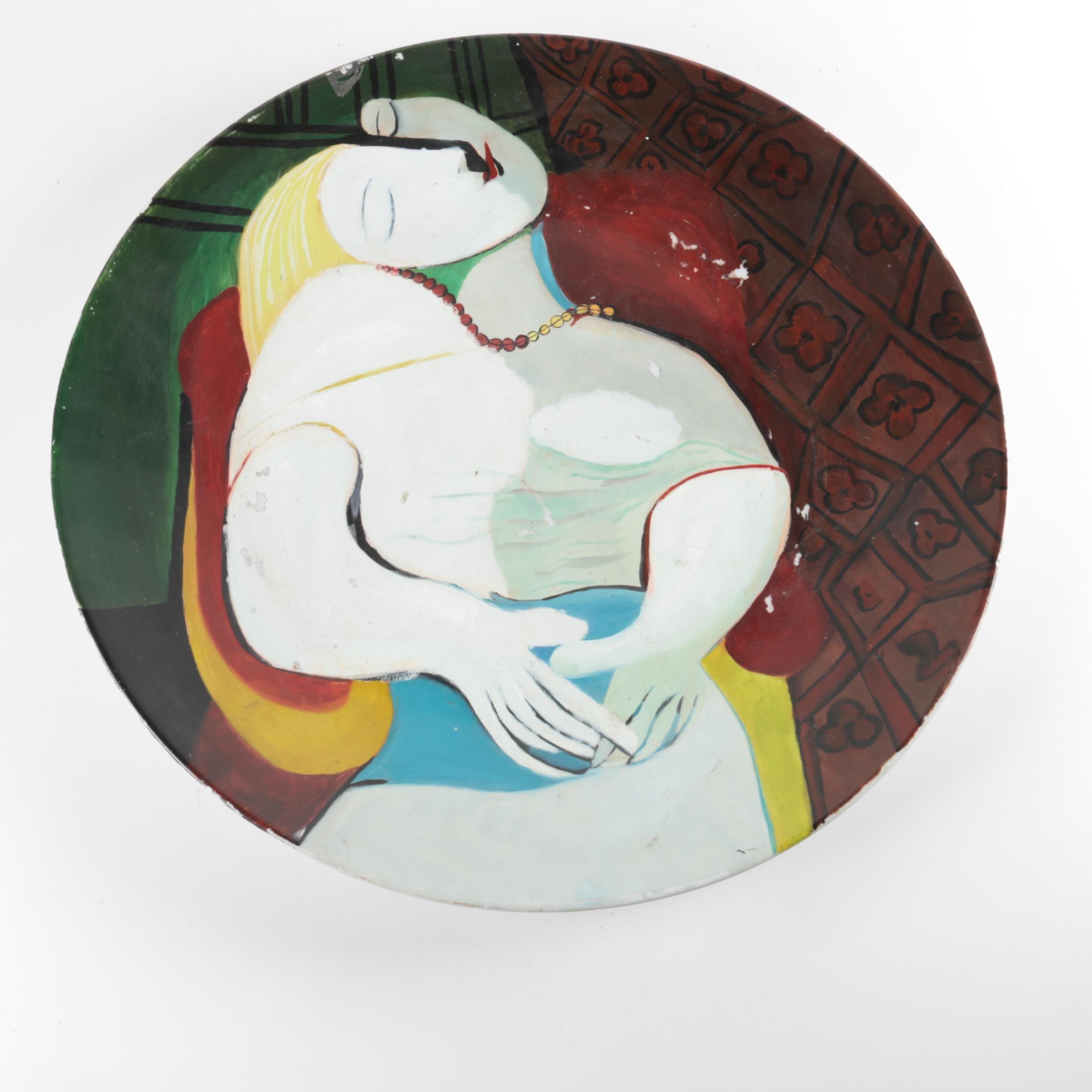 """Art Pottery Platter After Picasso's """"La Rev"""""""