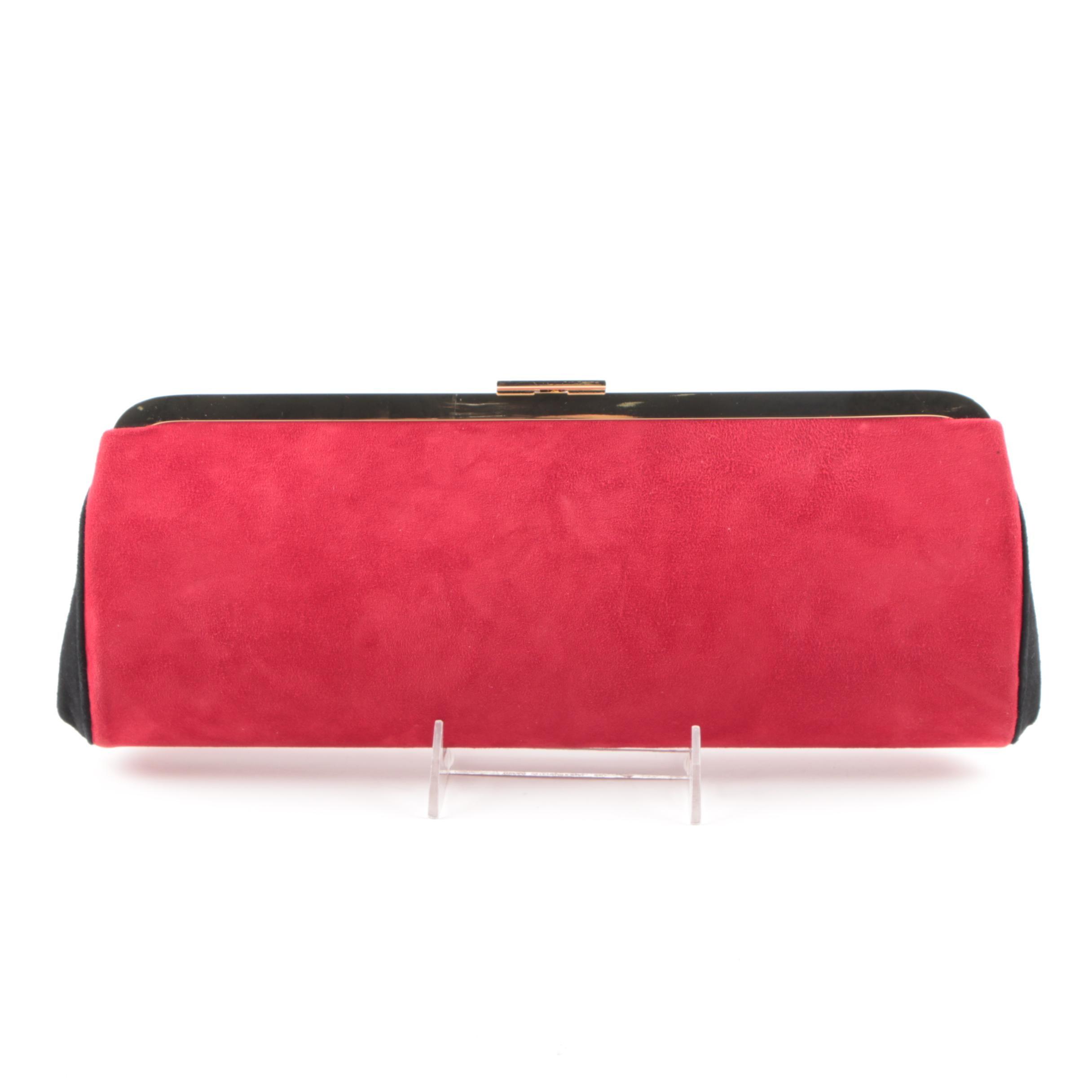 Balmain Paris for H&M Red Faux Suede Clutch