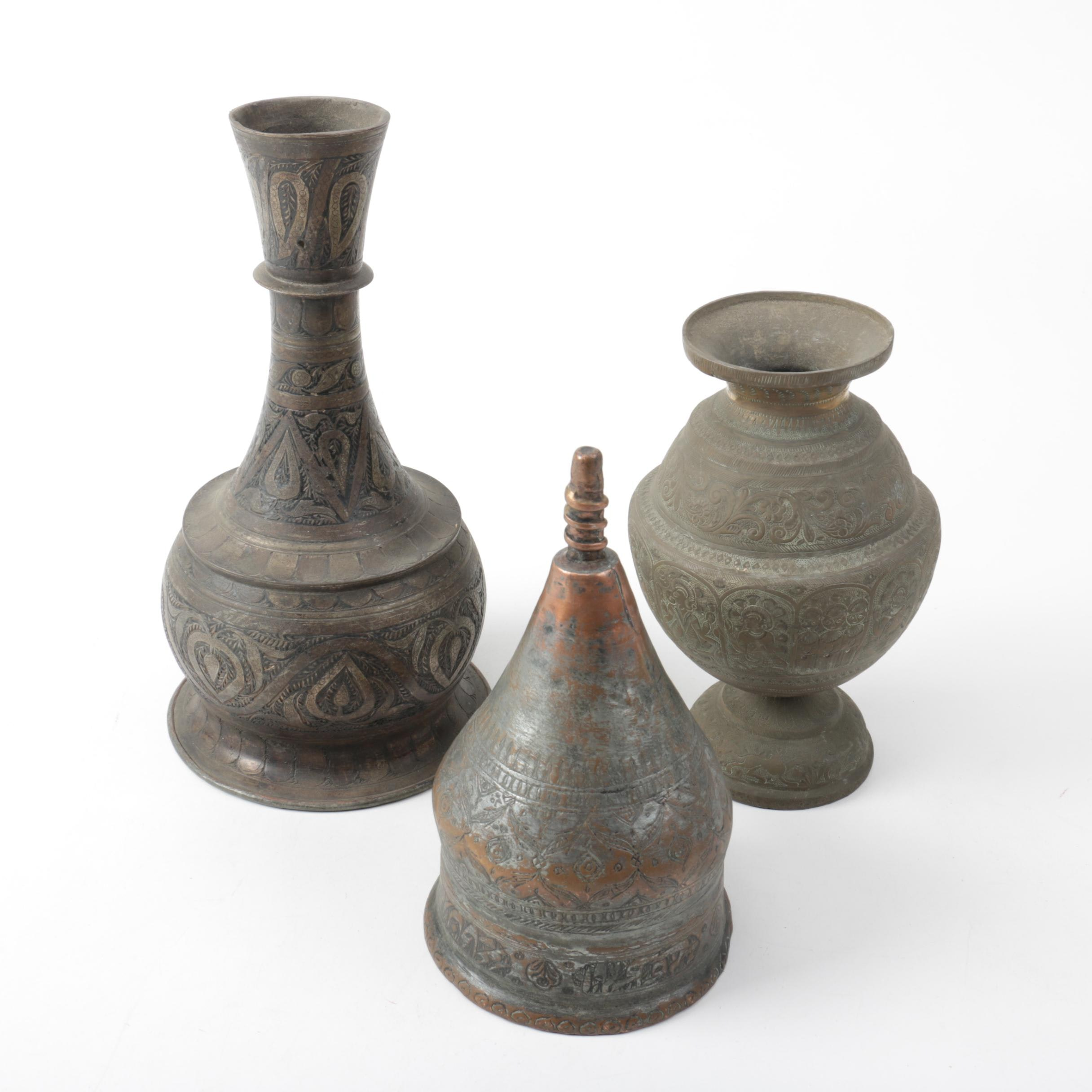Brass Vases and Bell