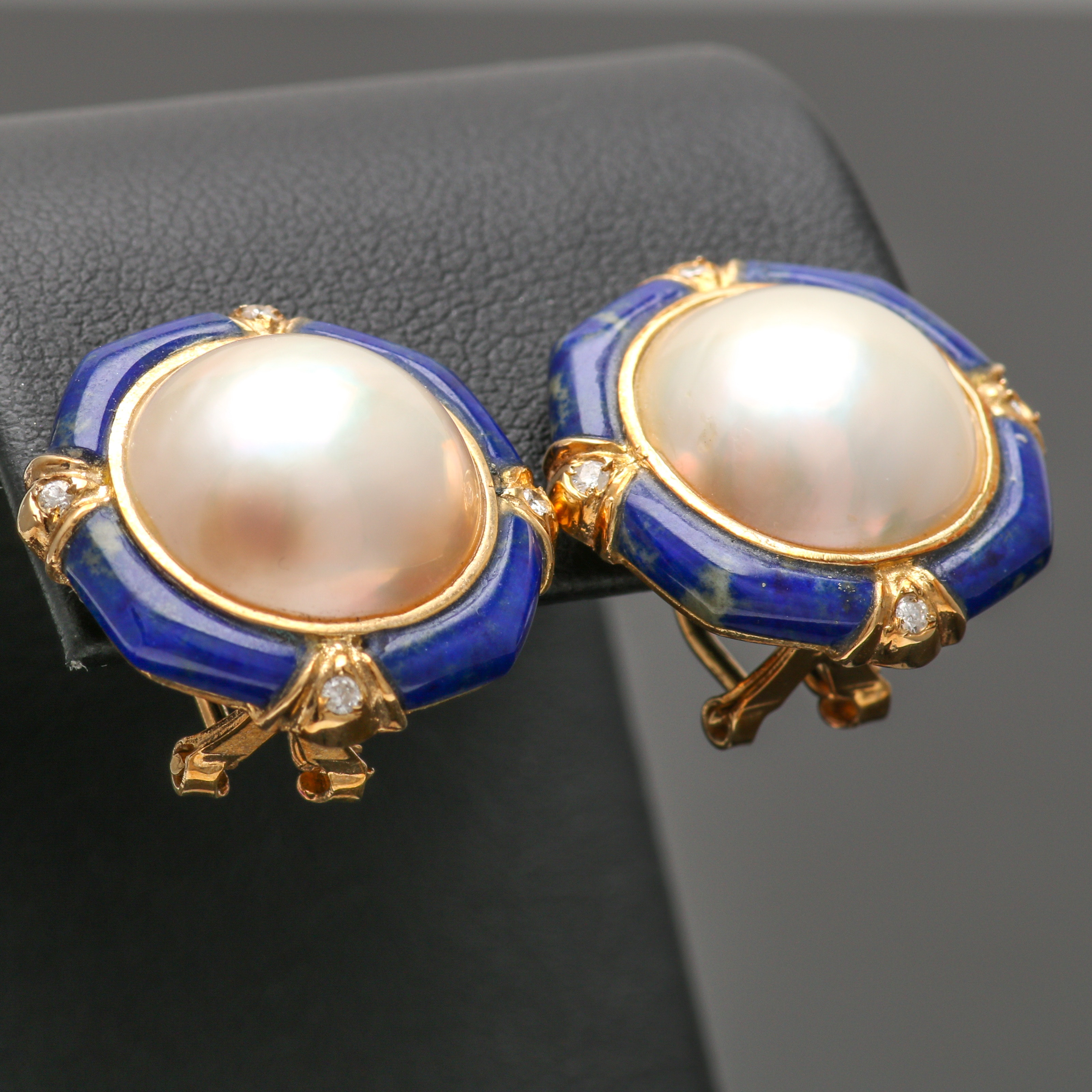 14K Yellow Gold Mabé Pearl, Lapis Lazuli, and Diamond Earrings