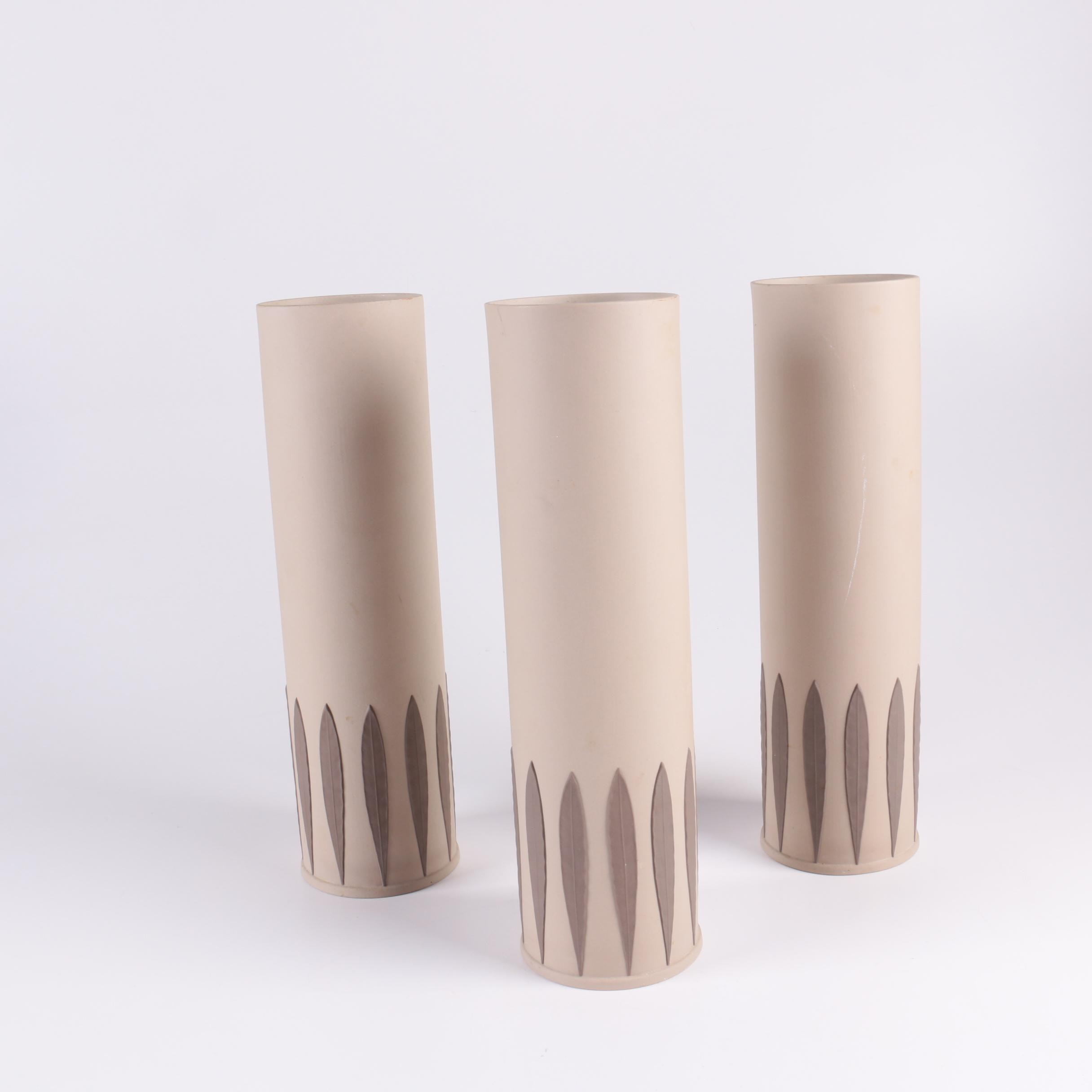 "Kelly Hoppen by Wedgwood ""Cylinder Leaf"" Tan and Brown Earthenware Vases"