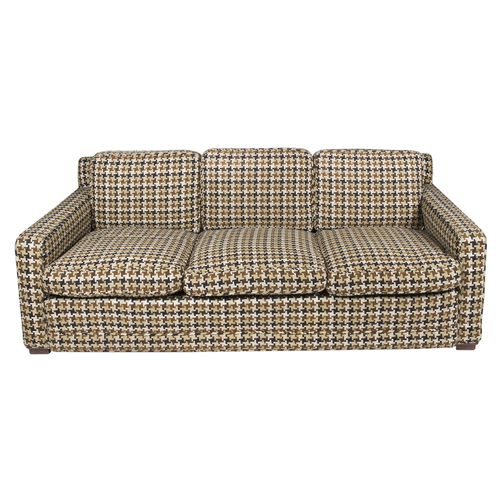 Mid Century Modern Style Sofa with Houndstooth Fabric