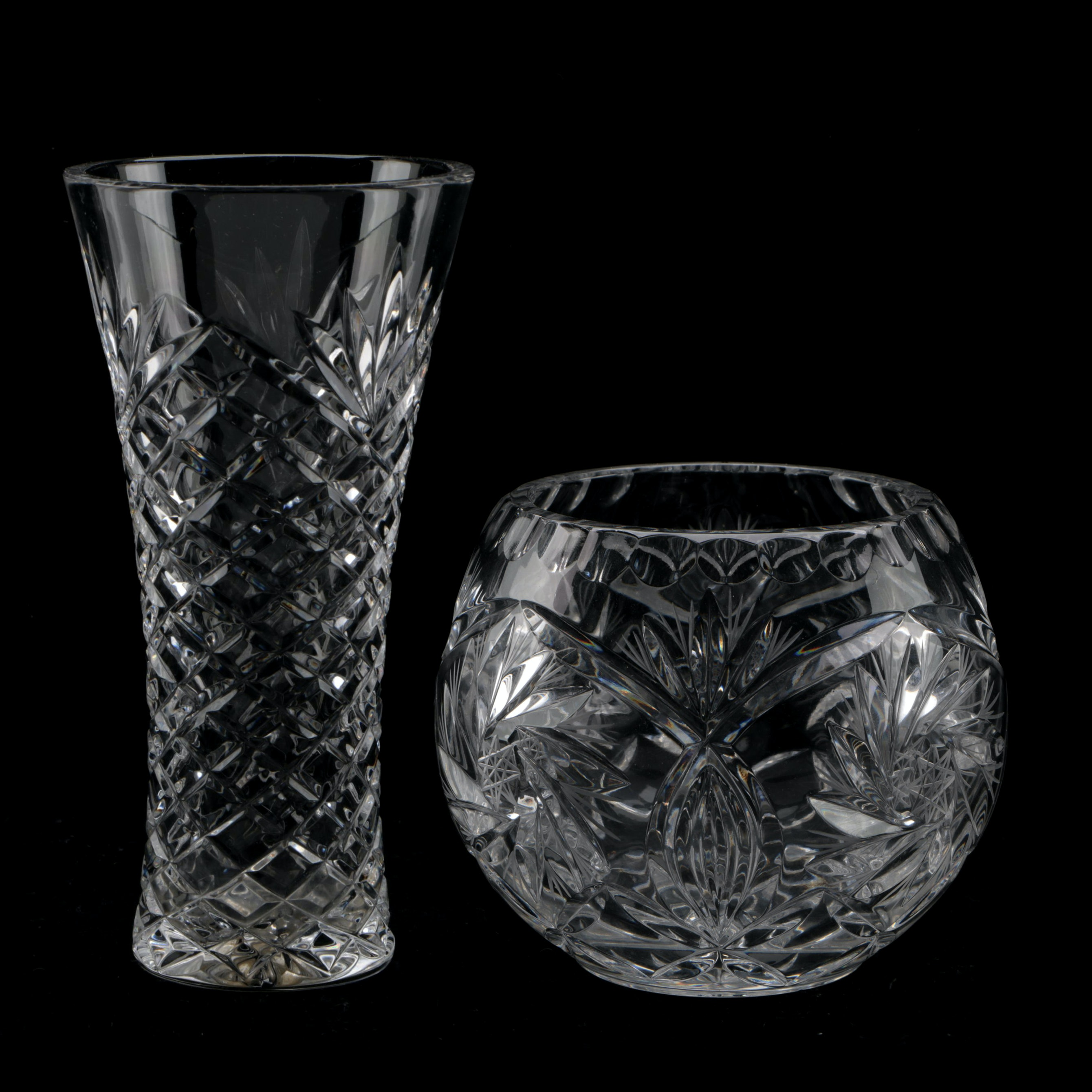 Crystal Vase and Rose Bowl