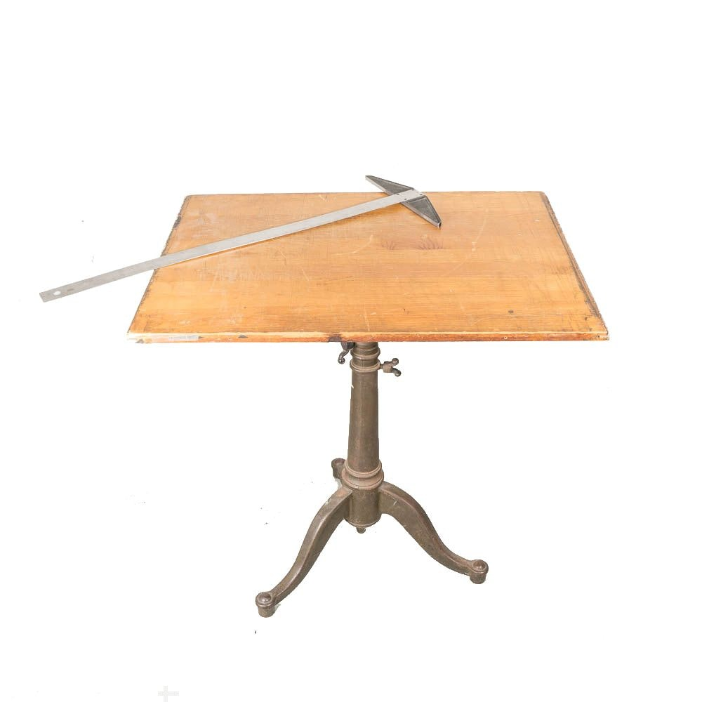Vintage Drafting Table with Metal Pedestal Stand