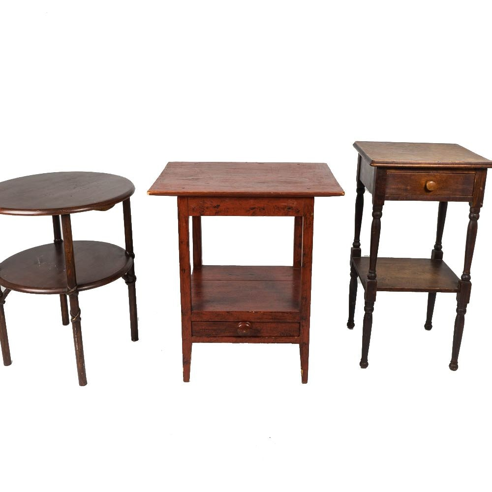 Three Vintage Wood End Tables