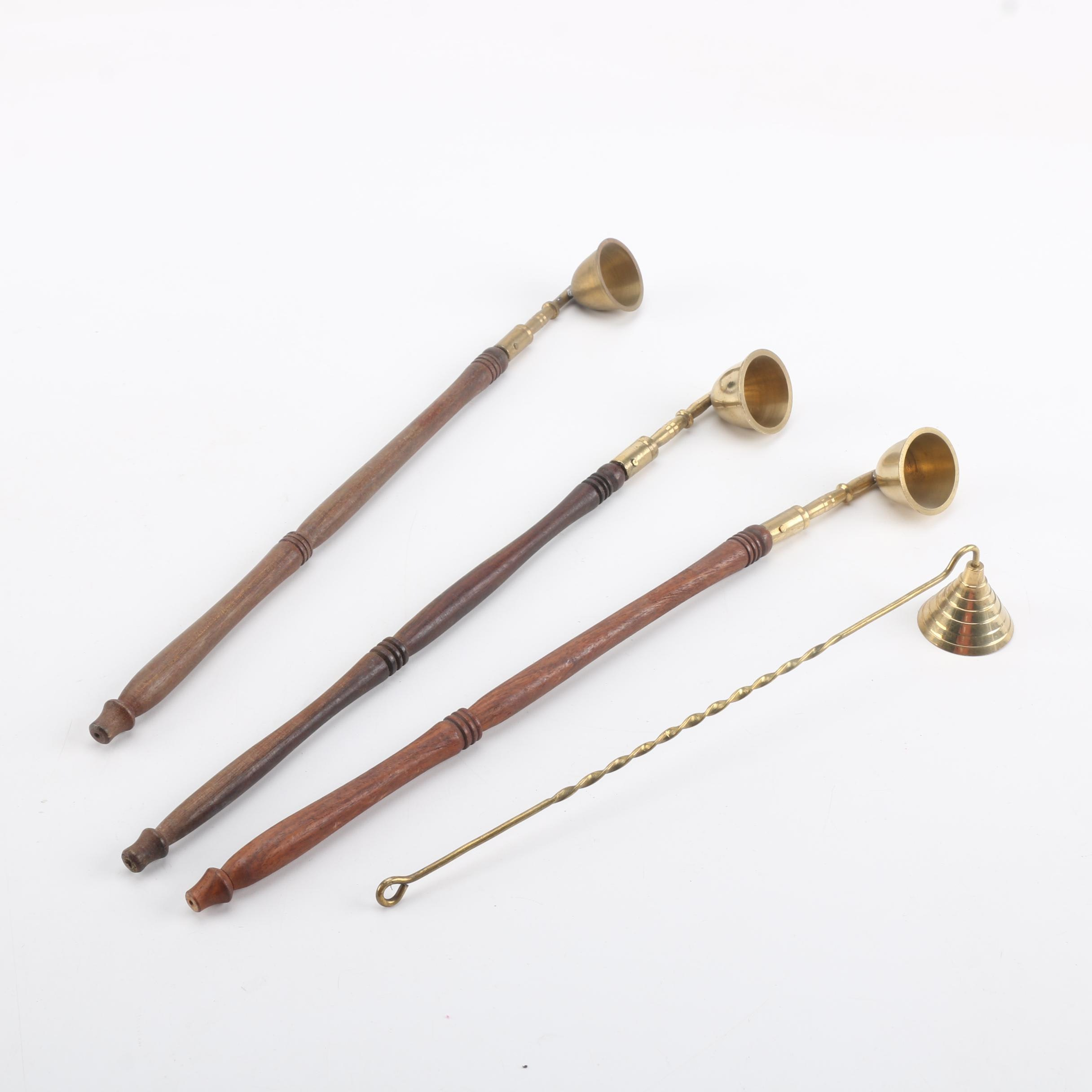 Four Brass Candle Snuffers