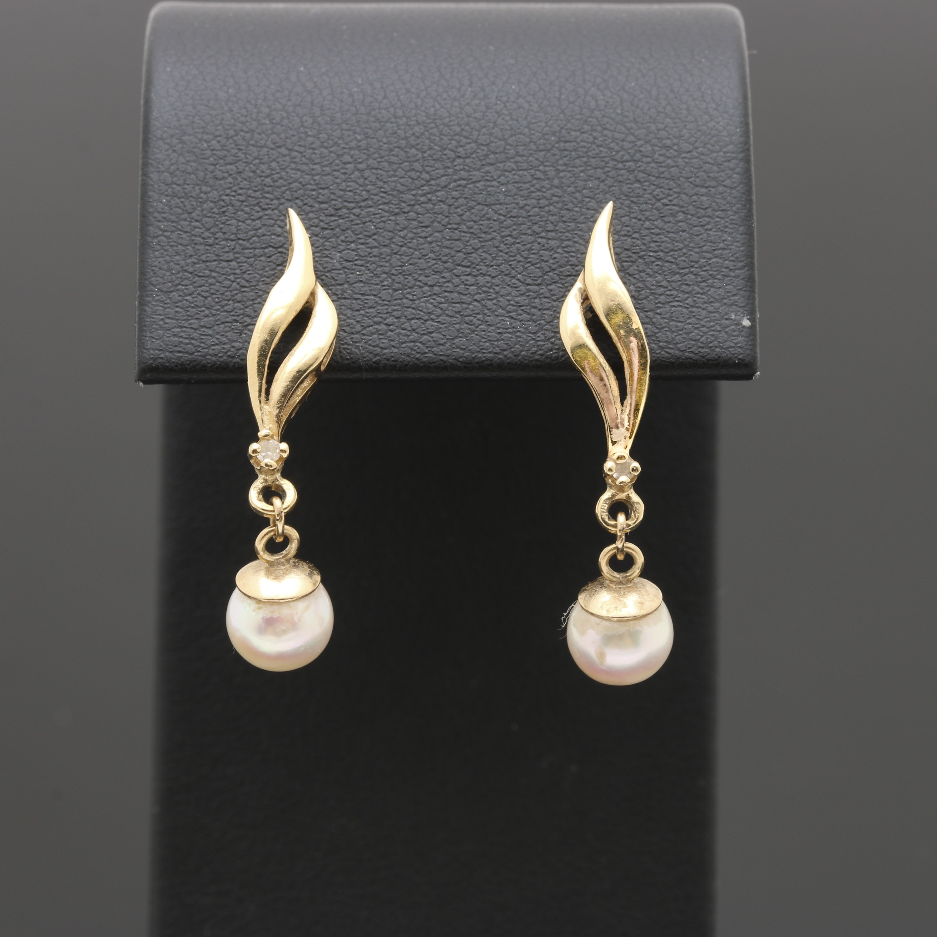 14K Yellow Gold Pearl Diamond Earrings