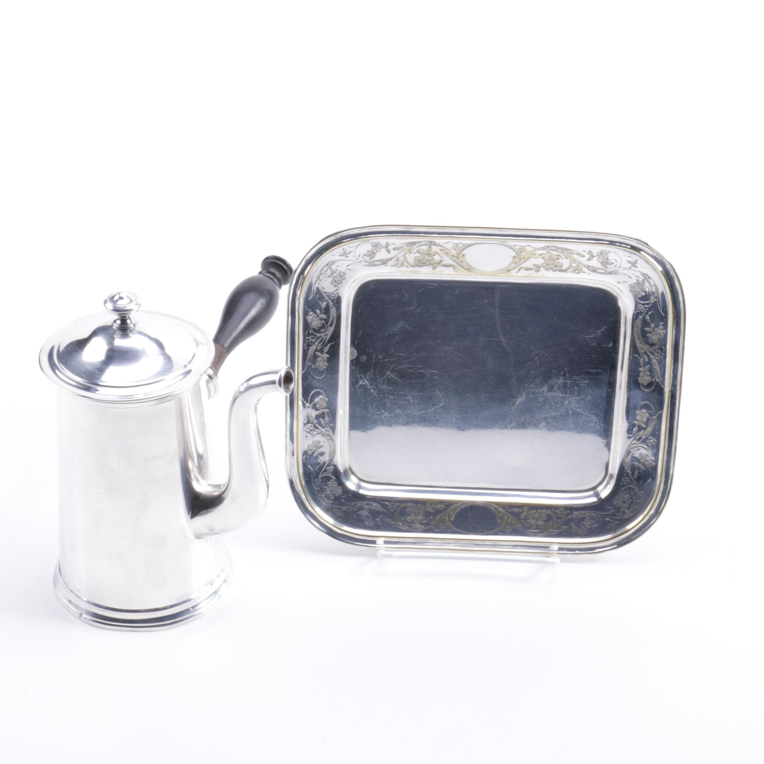 Christofle Silver-Plated Chocolate Pot and Platter
