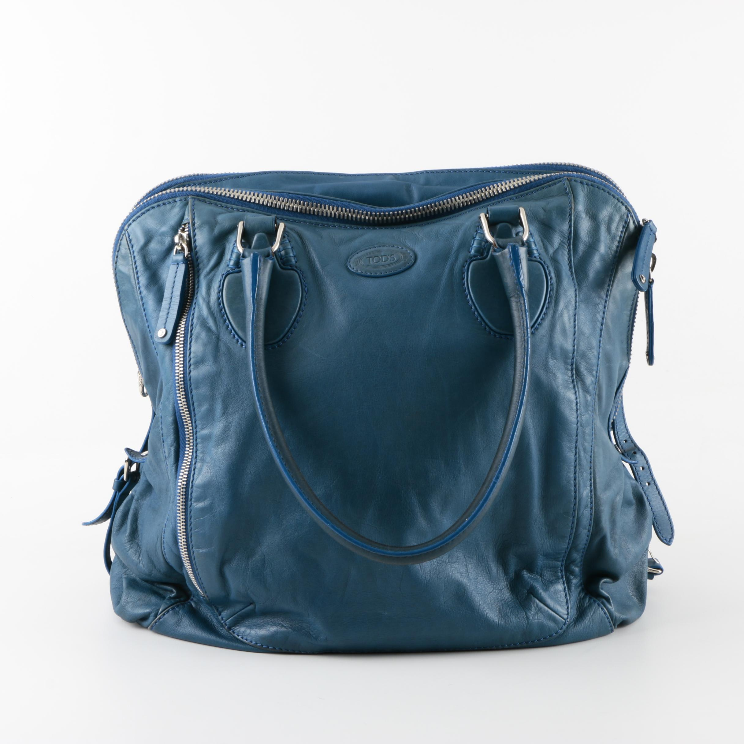 Tod's Blue Leather Handbag